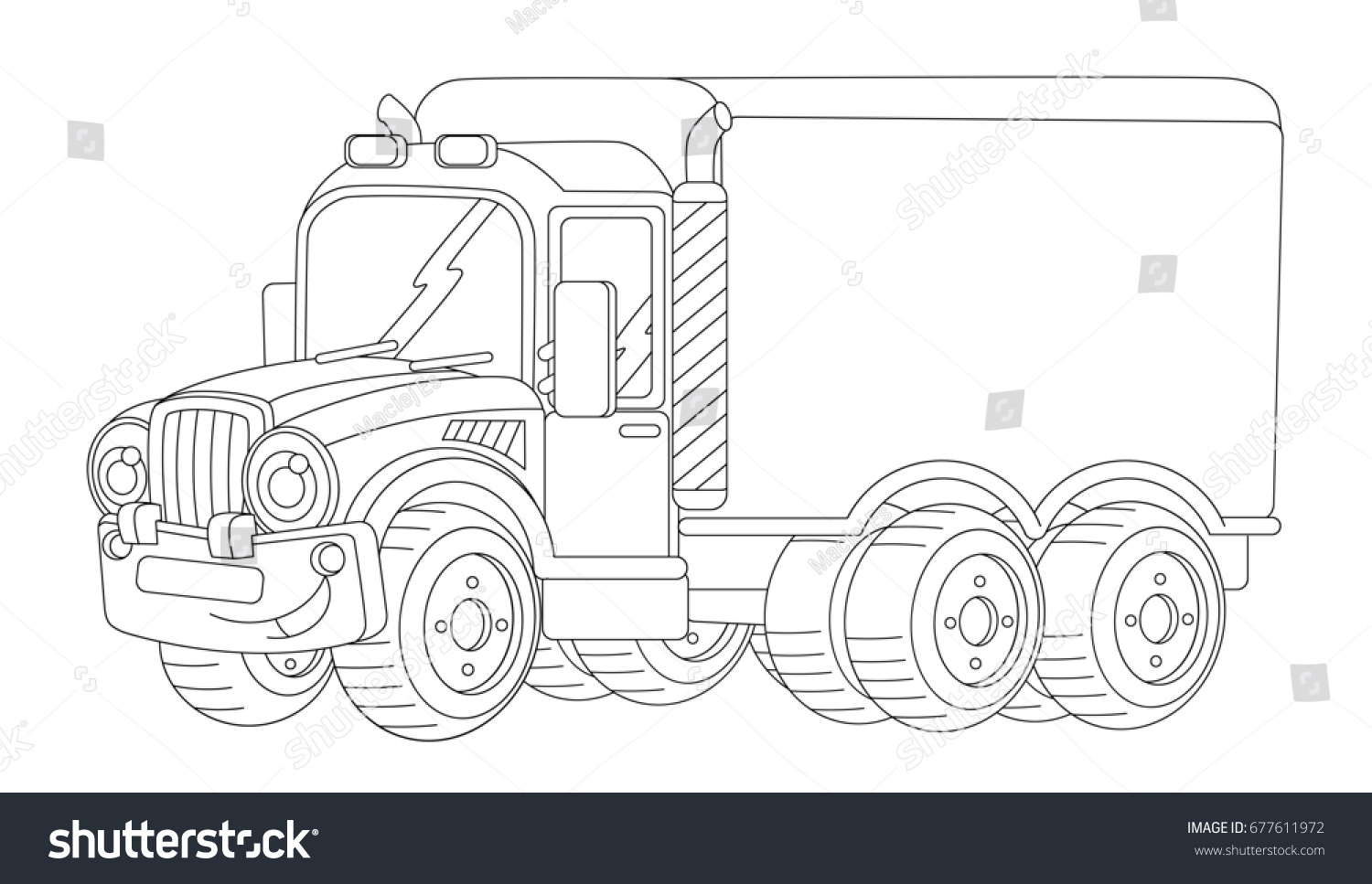 cartoon happy cargo truck with trailer coloring page illustration for children