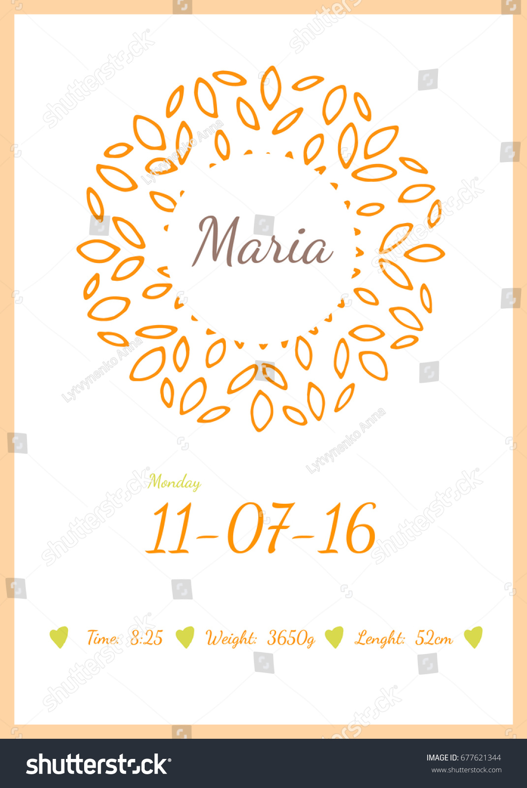 Baby Happy Birthday Card Data Name Stock Vector Royalty Free