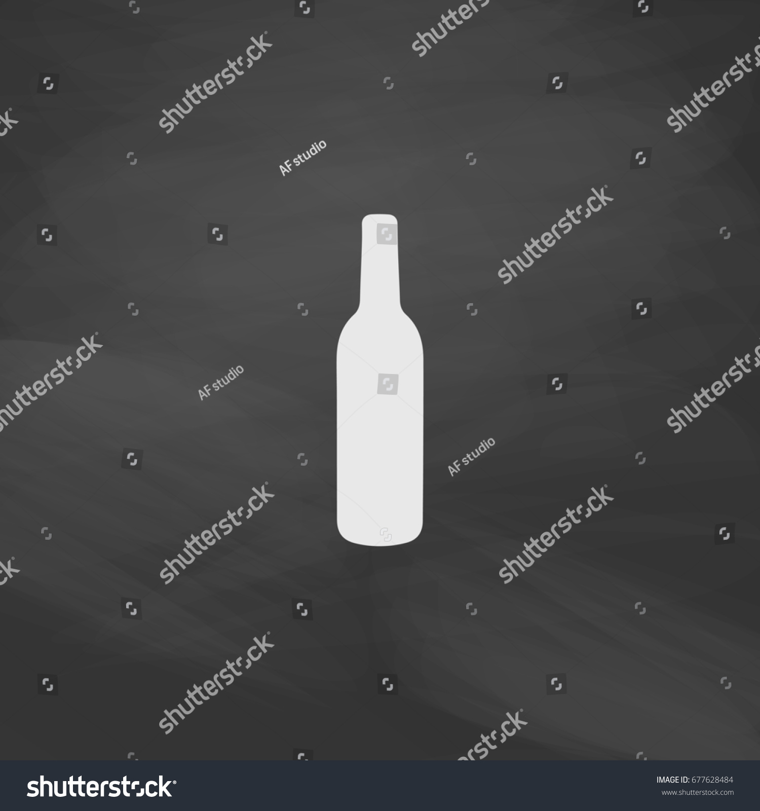 a85f4cb4a7 Liquor bottle. Imitation draw icon with white chalk on blackboard. Flat  Pictogram and School