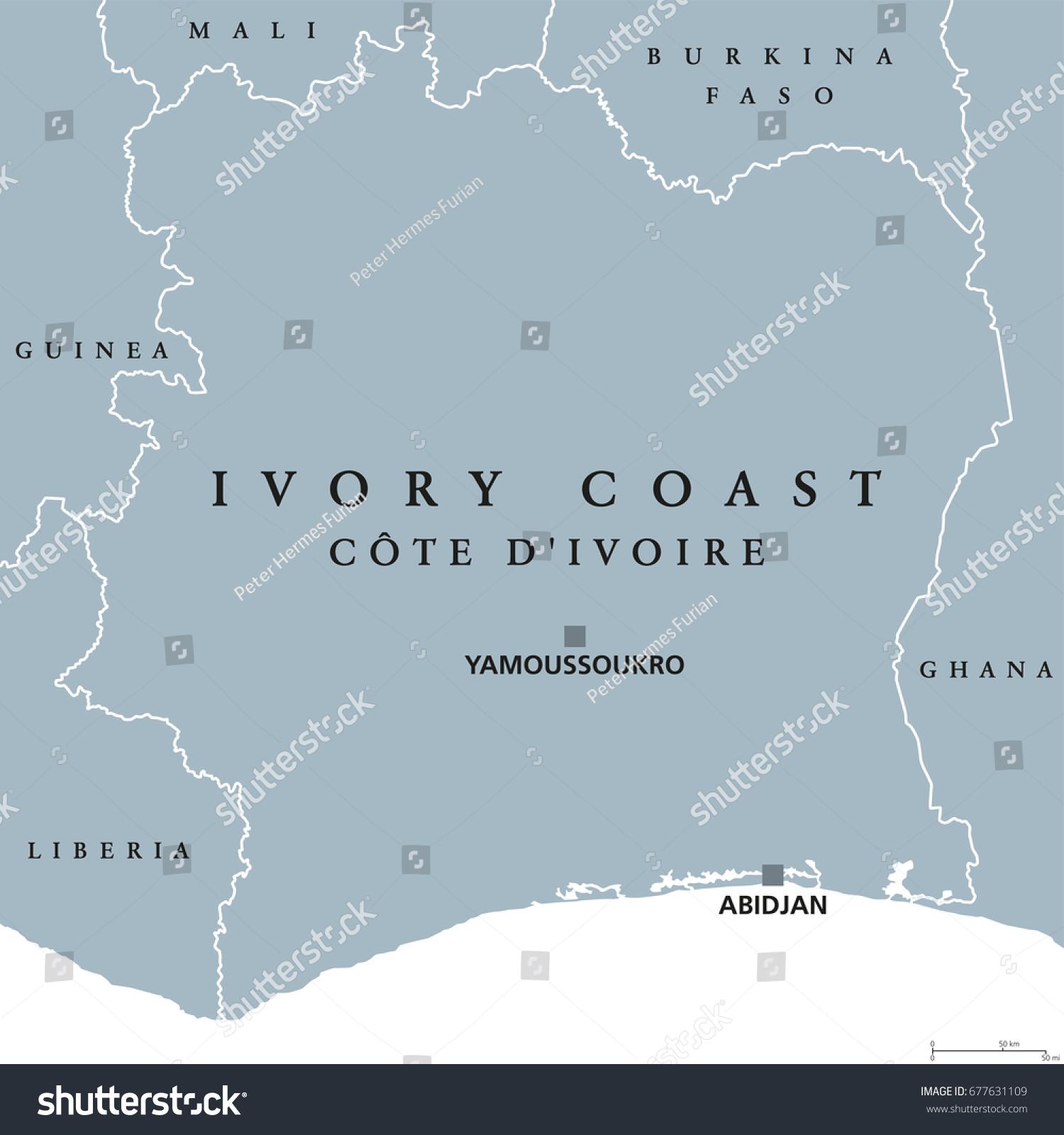 Ivory Coast Political Map Capital Yamoussoukro Stock Vector Royalty