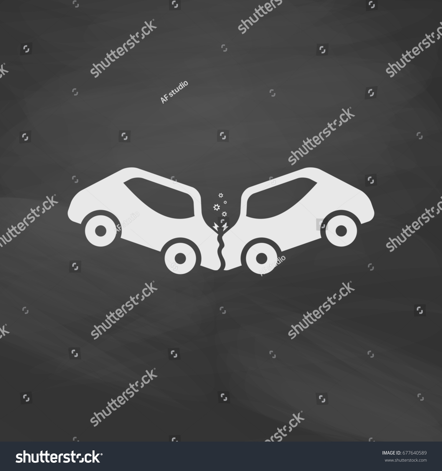 Car Crash Accidents Imitation Draw Icon Stock Illustration 677640589 ...
