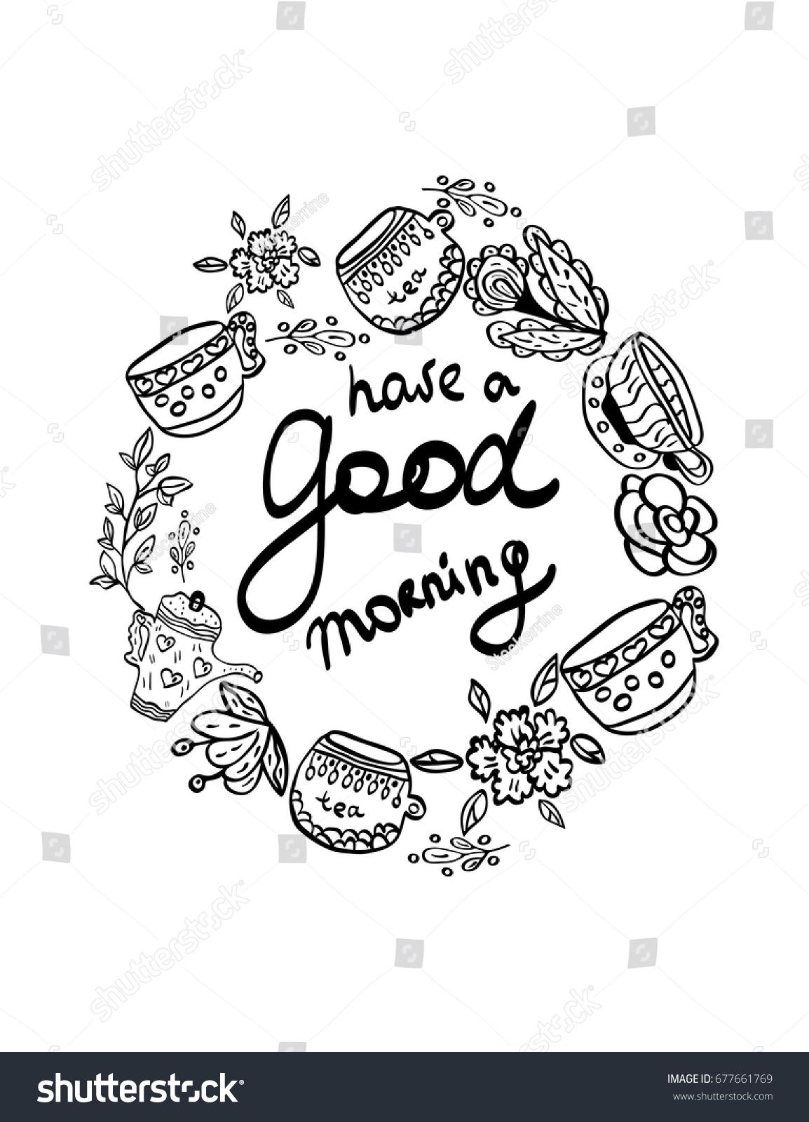 Have Good Morning Greeting Card Tea Stock Vector Royalty Free