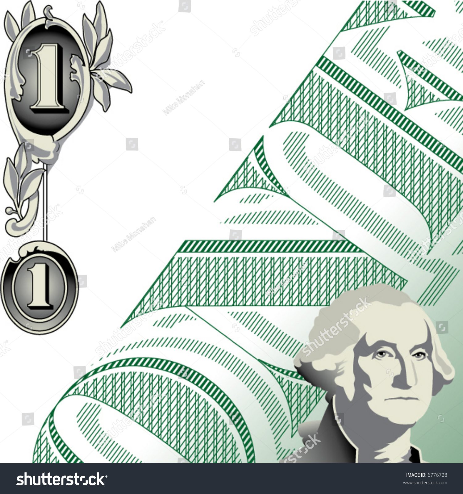 A One Dollar Bill Motif In Vector Format With Background Space For – Format for a Bill