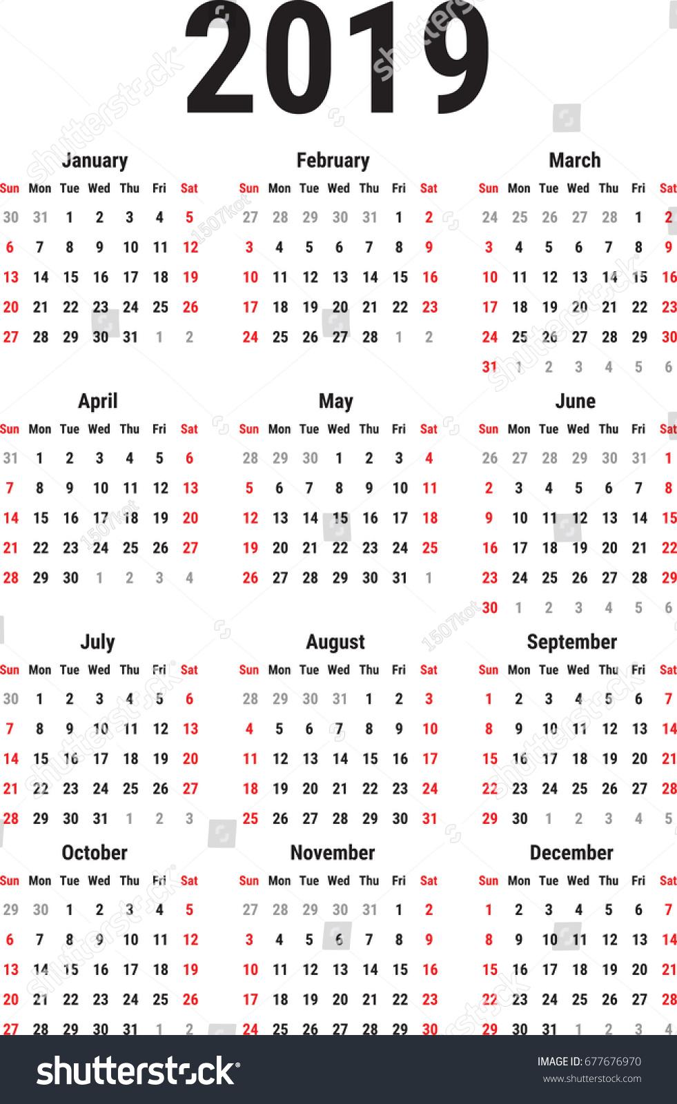 Calendar 2019 Year On White Background Stock Vector