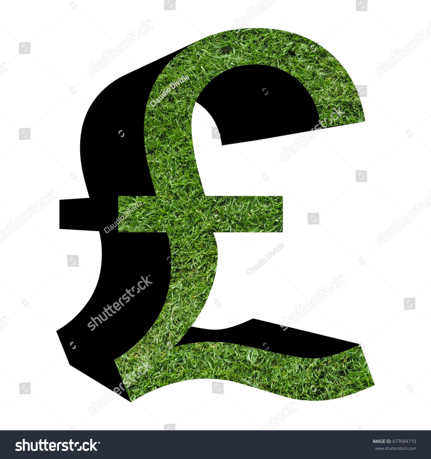 Gbp Uk Pound Symbol Grass Texture Stock Illustration 677684710