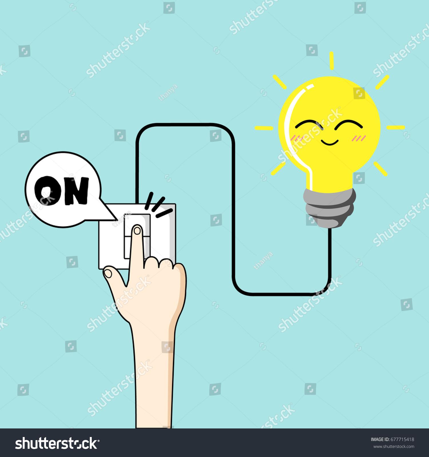 Turn On Light Vector Finger Turn Stock Vector (Royalty Free ...