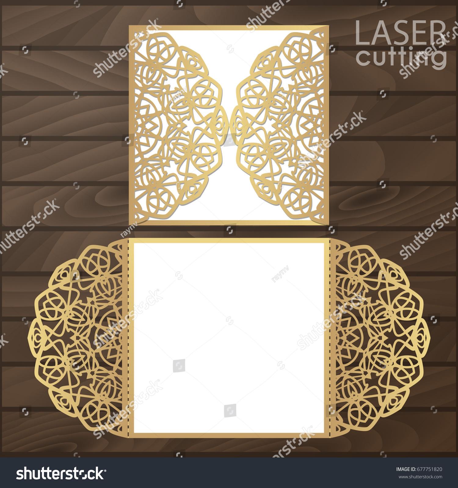 Laser Cut Wedding Invitation Card Template Stock Vector HD (Royalty ...