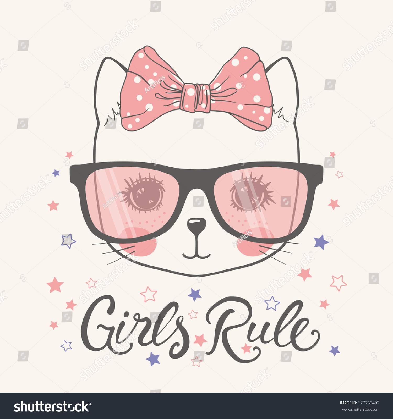 Cute Cat Girls Rule Stock Vector Shutterstock