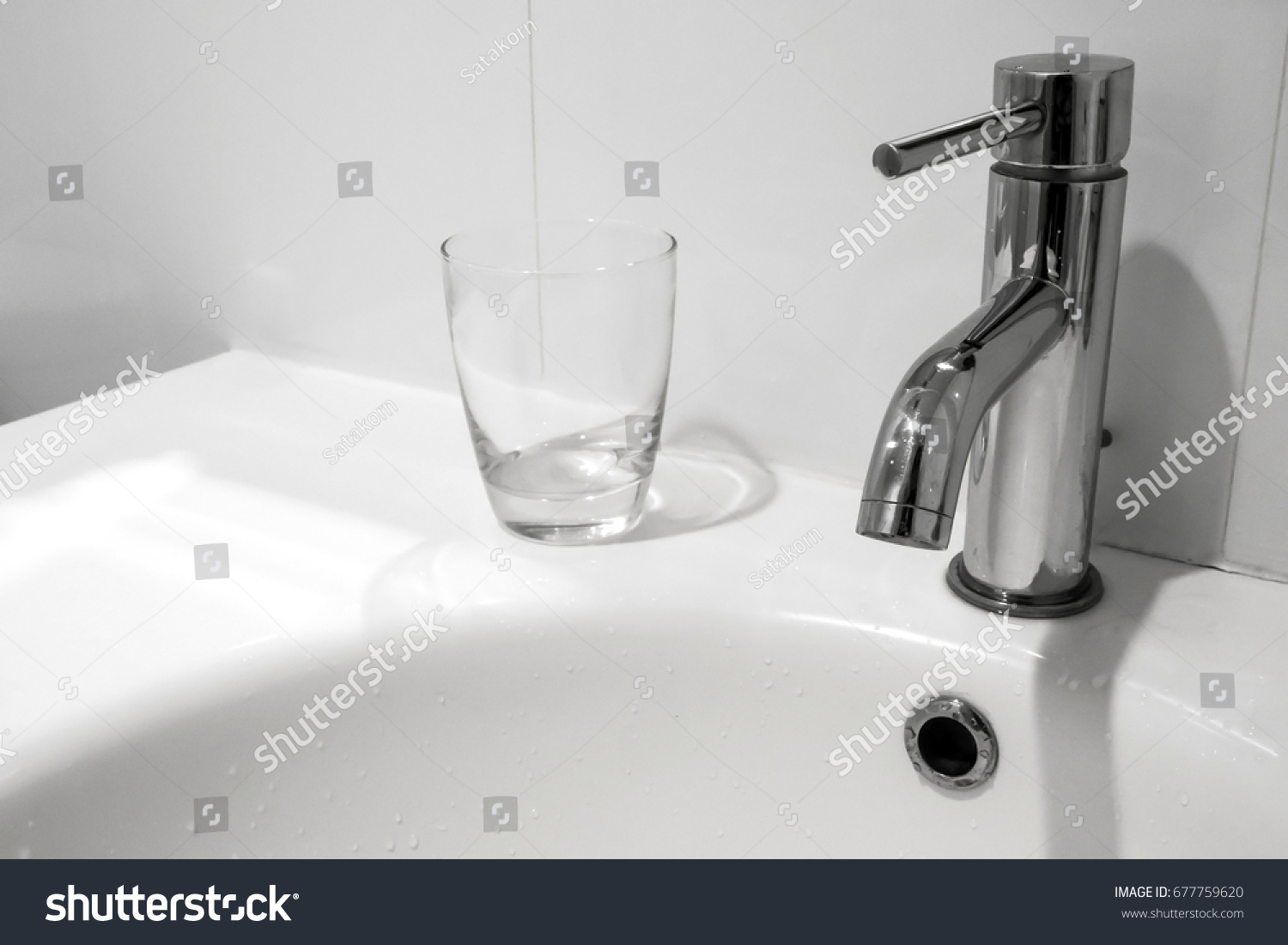 White Bathroom Faucet Wash Basin Water Stock Photo (Edit Now ...
