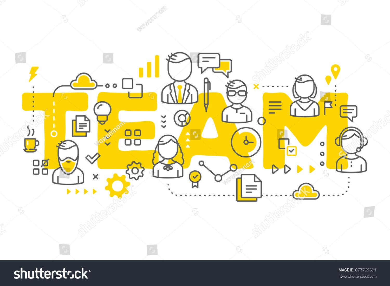vector creative illustration business team line stock