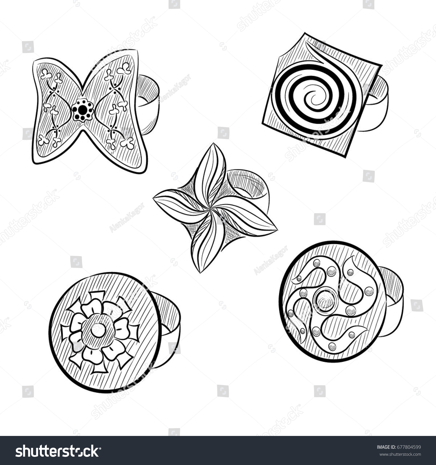 Set Jewelry Rings Vintage Jewelry Modern Stock Vector Royalty Free