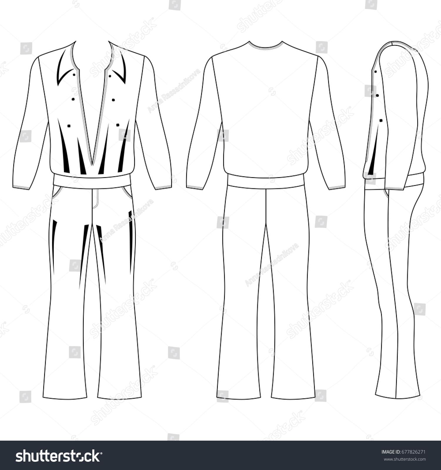 mans flare pants long sleeve tshirt stock vector royalty free
