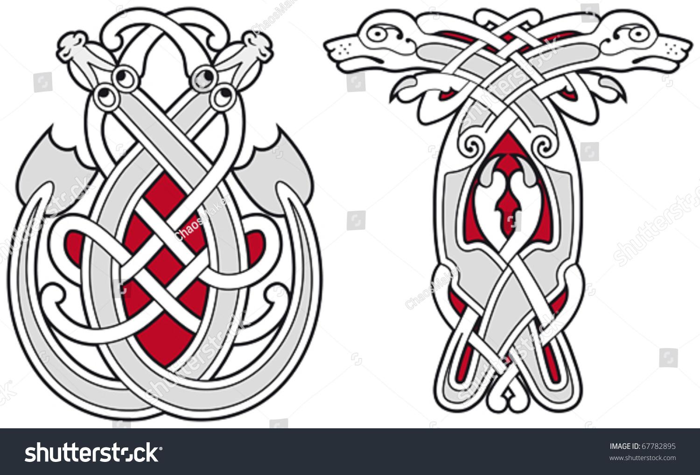 set celtic animals design elements stock vector 67782895 shutterstock. Black Bedroom Furniture Sets. Home Design Ideas