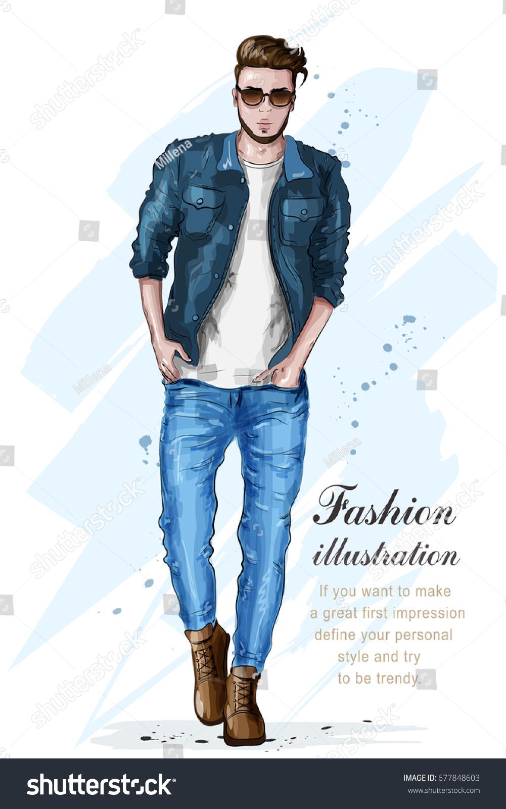 Stylish Handsome Man Fashion Clothes Fashion Stock Vector