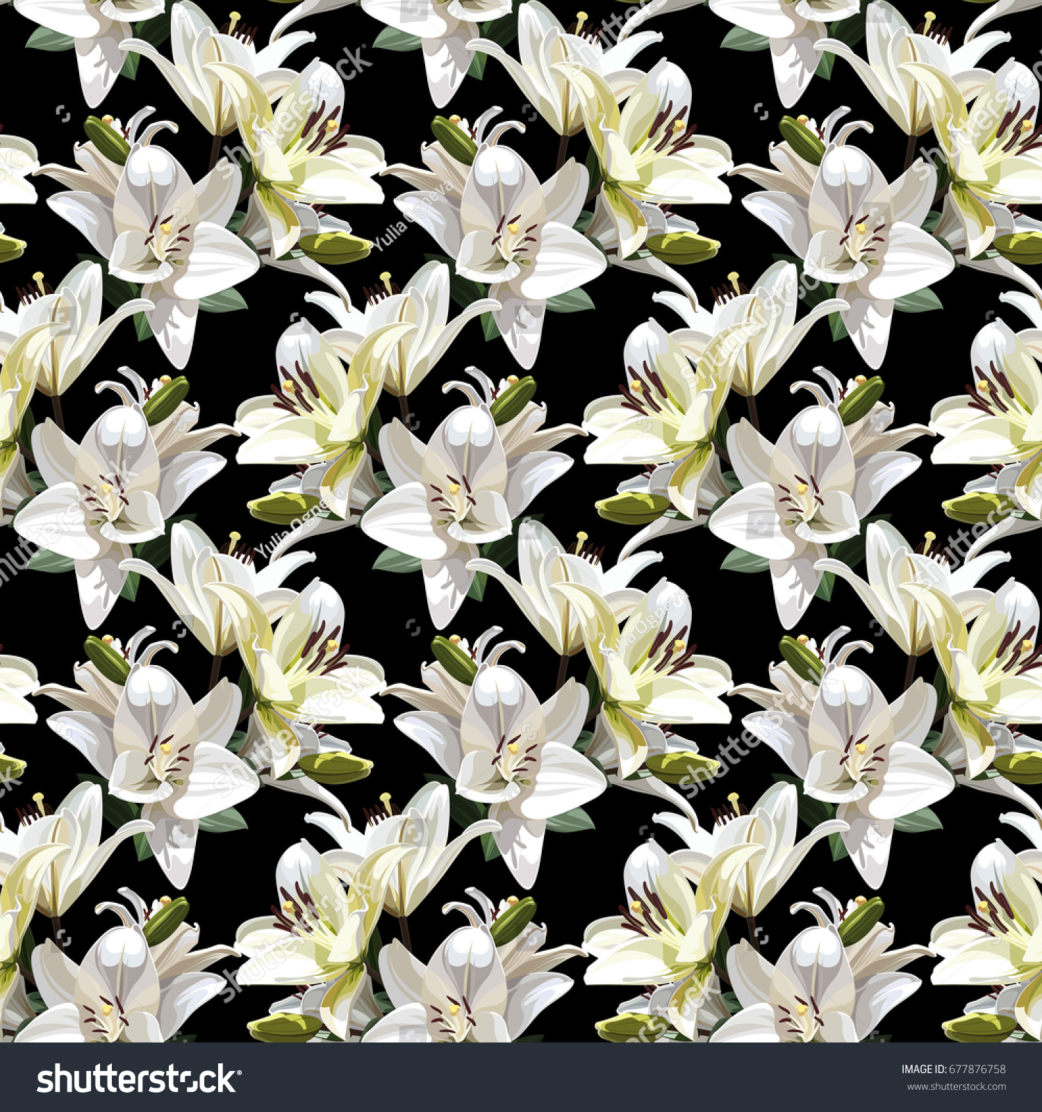 White flowers lily madonna lily seamless stock vector royalty free white flowers of lily madonna lily seamless floral pattern on black background izmirmasajfo