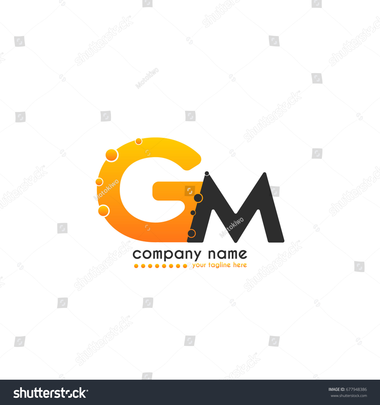 Initial Letter Gm Linked Design Bubble Stock Vector 677948386