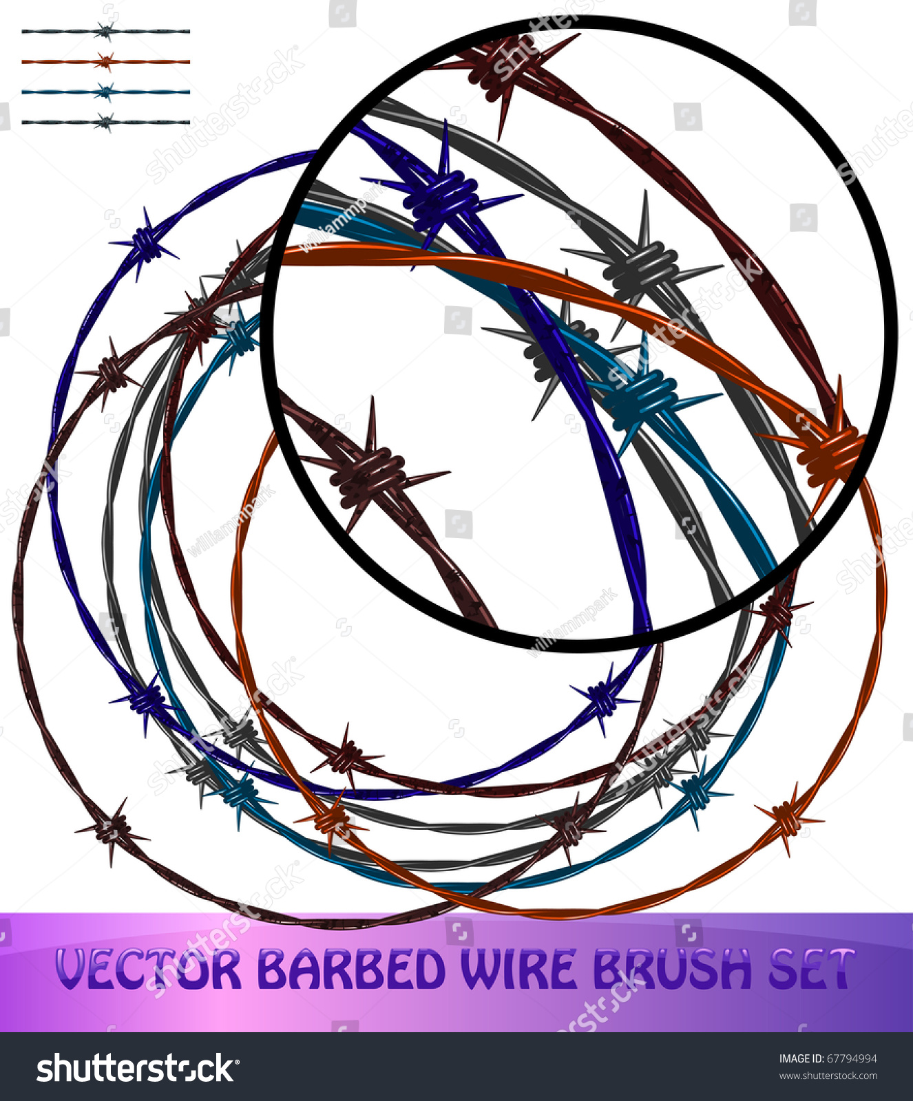 Barbed wire brushes stock vector shutterstock