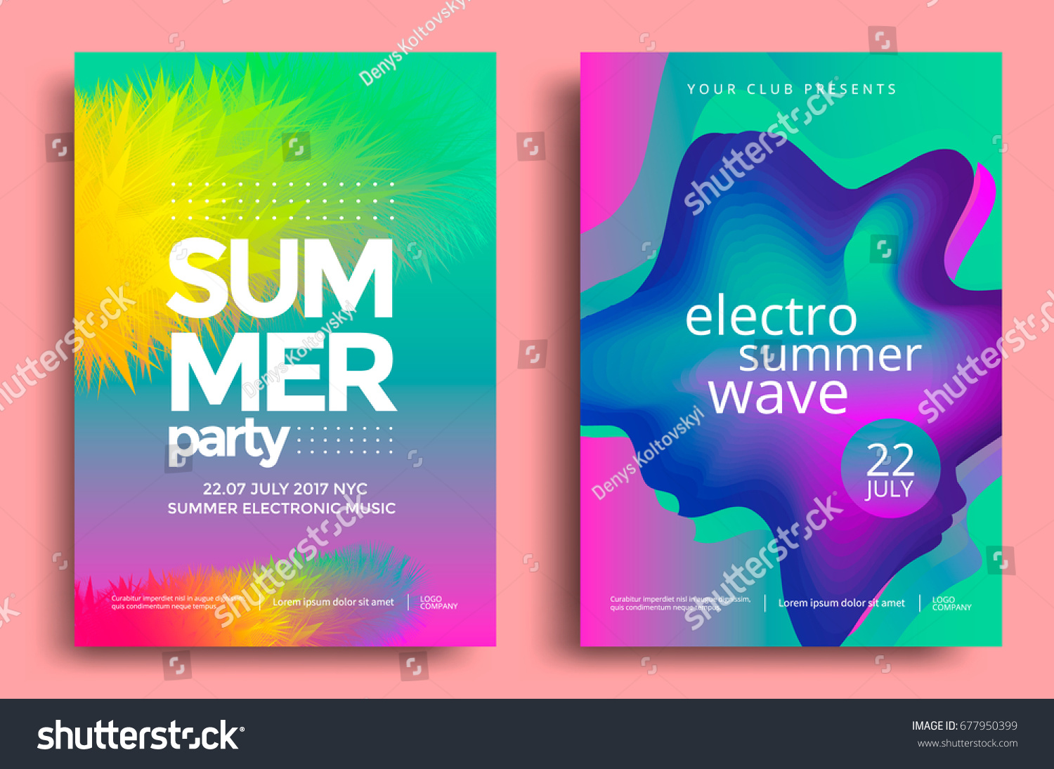 Electronic Music Fest And Electro Summer Wave Poster. Club Party Flyer.  Abstract Gradients Waves