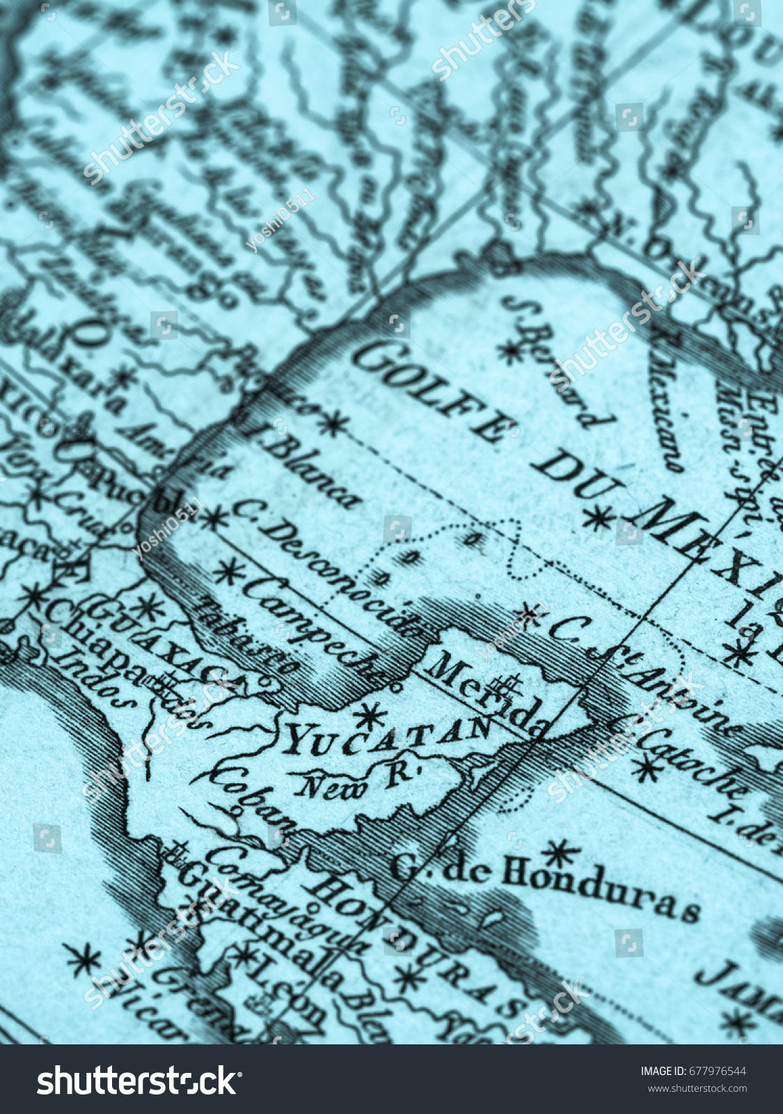 Old map yucatan peninsula gulf mexico stock photo royalty free old map yucatan peninsula and gulf of mexico gumiabroncs Gallery