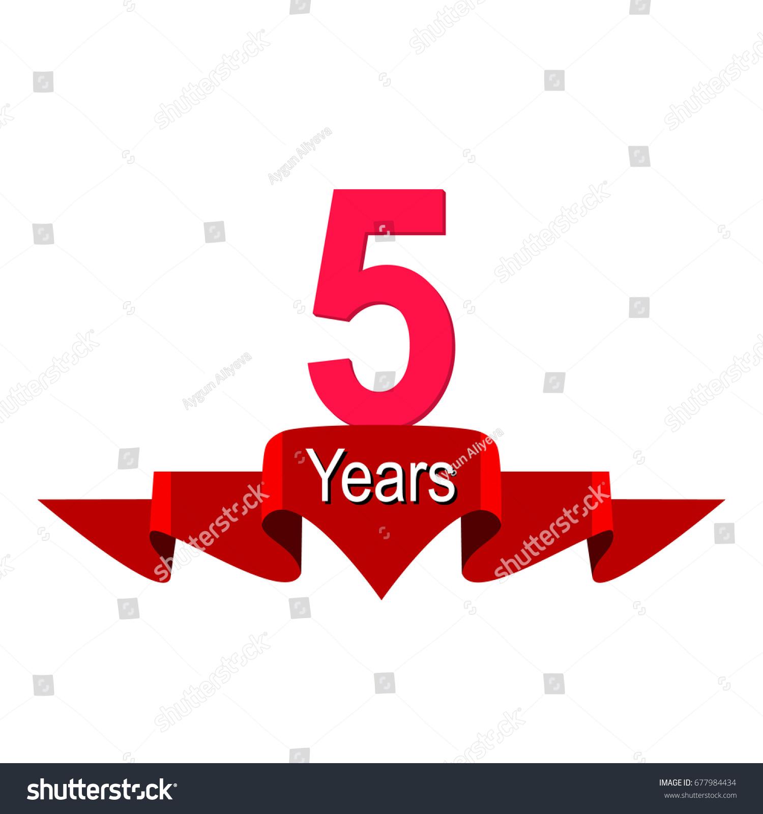 5 year anniversary logo red ribbon stock vector 677984434 5 year anniversary logo with red ribbon flat style vector illustration biocorpaavc Gallery