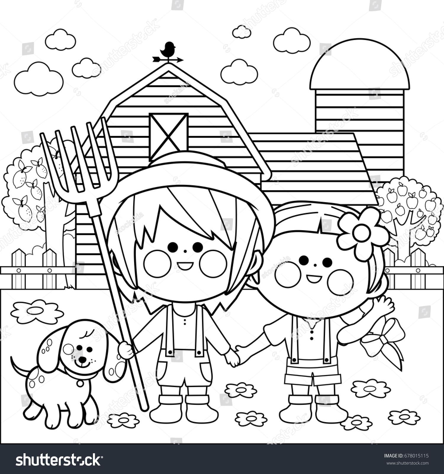 Children Farm Black White Coloring Book Stock Vector
