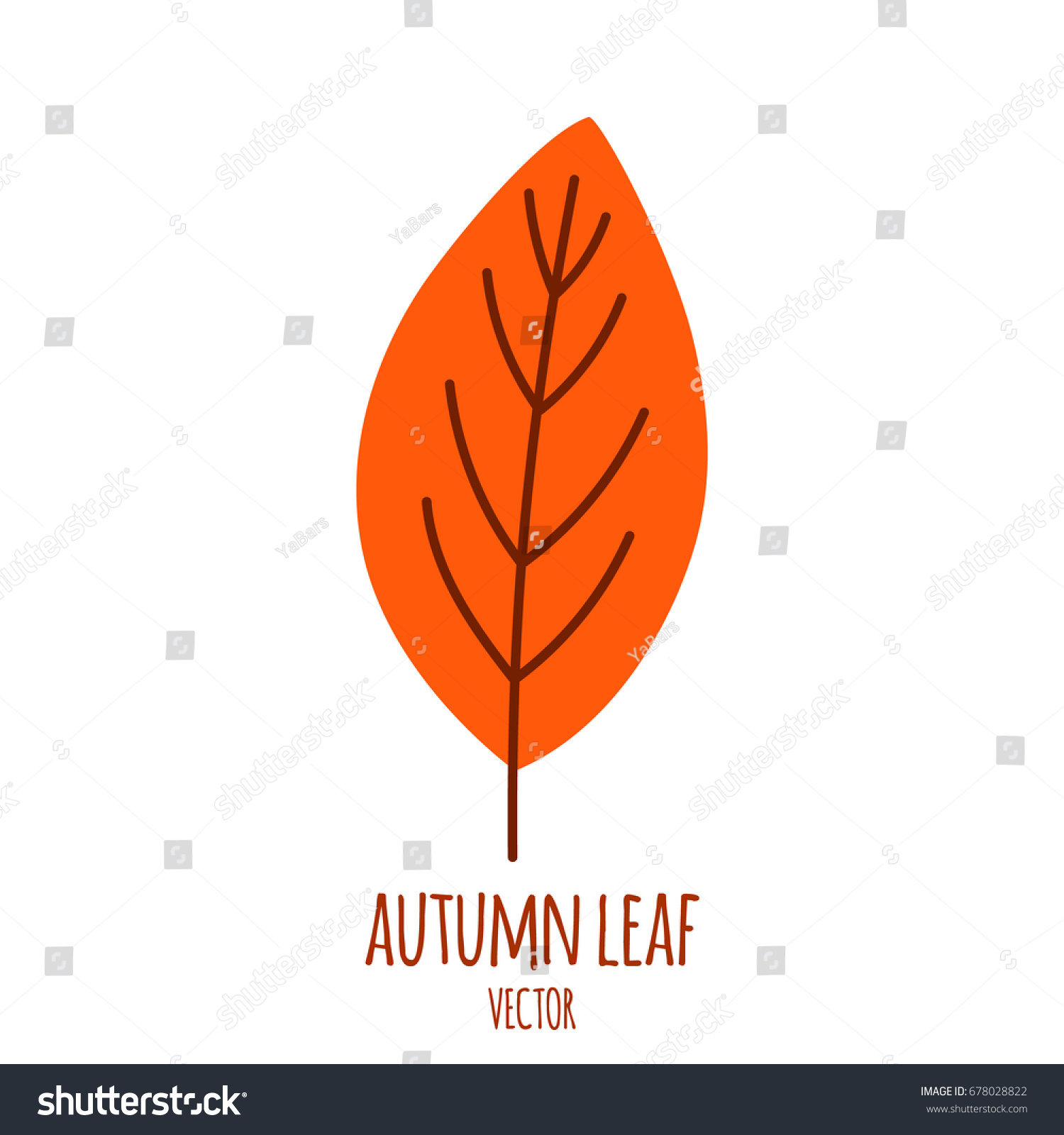 autumn leaves isolated on white simple stock vector 678028822