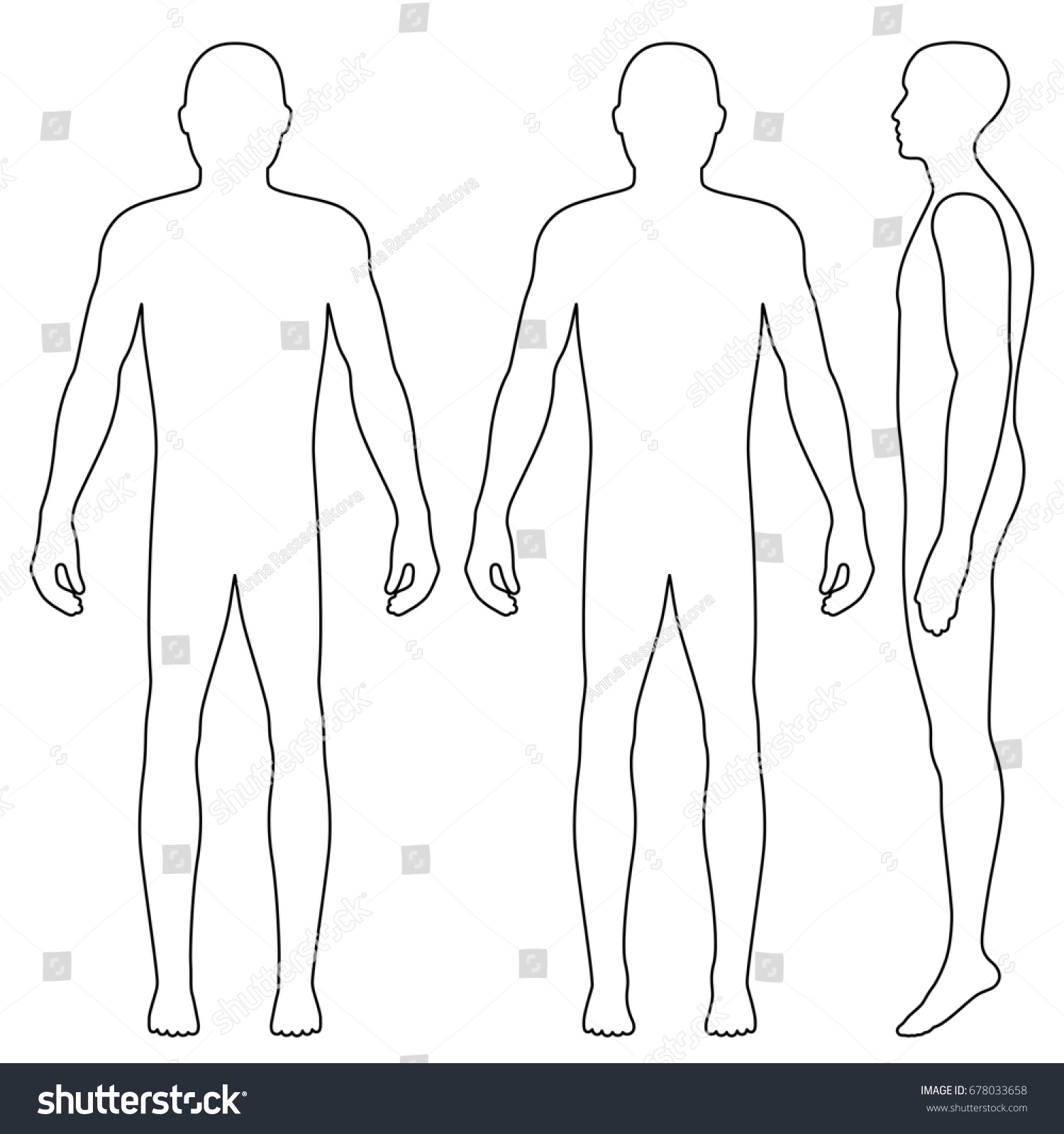 Fashion Body Full Length Bald Template Stock Illustration ...