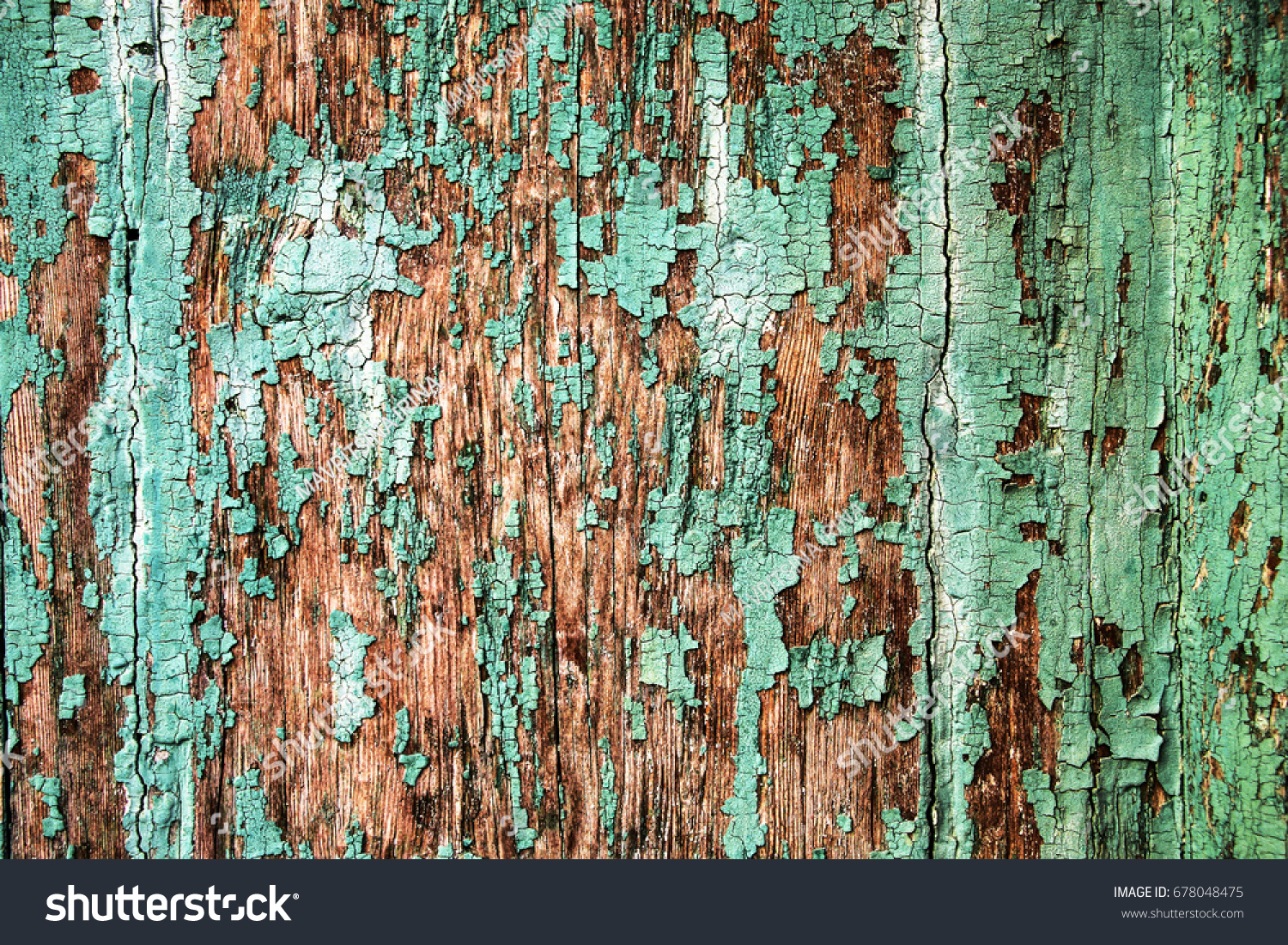 Texture Old Wood Cracked Paint Green Stock Photo 678048475 ...