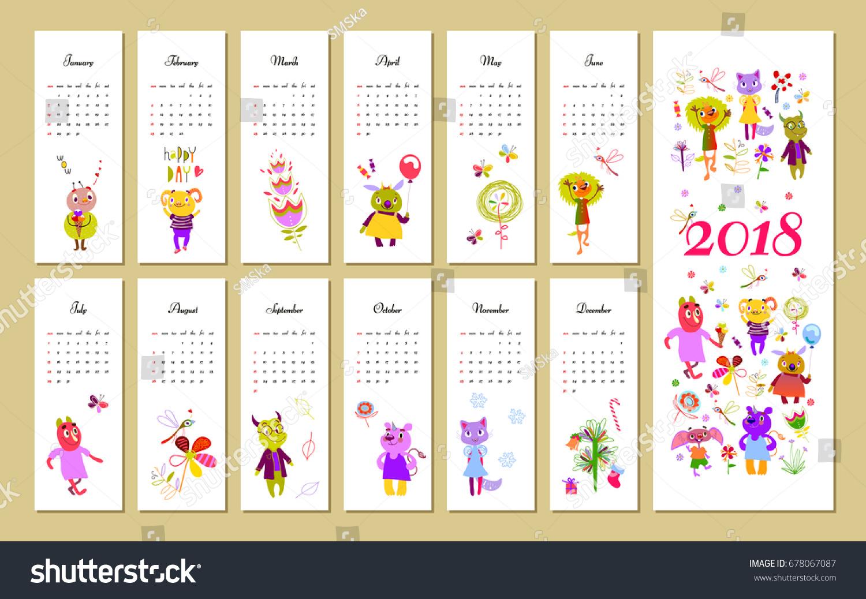 Monthly Kids Calendar 2018 Funny Monsters Stock Vector 678067087
