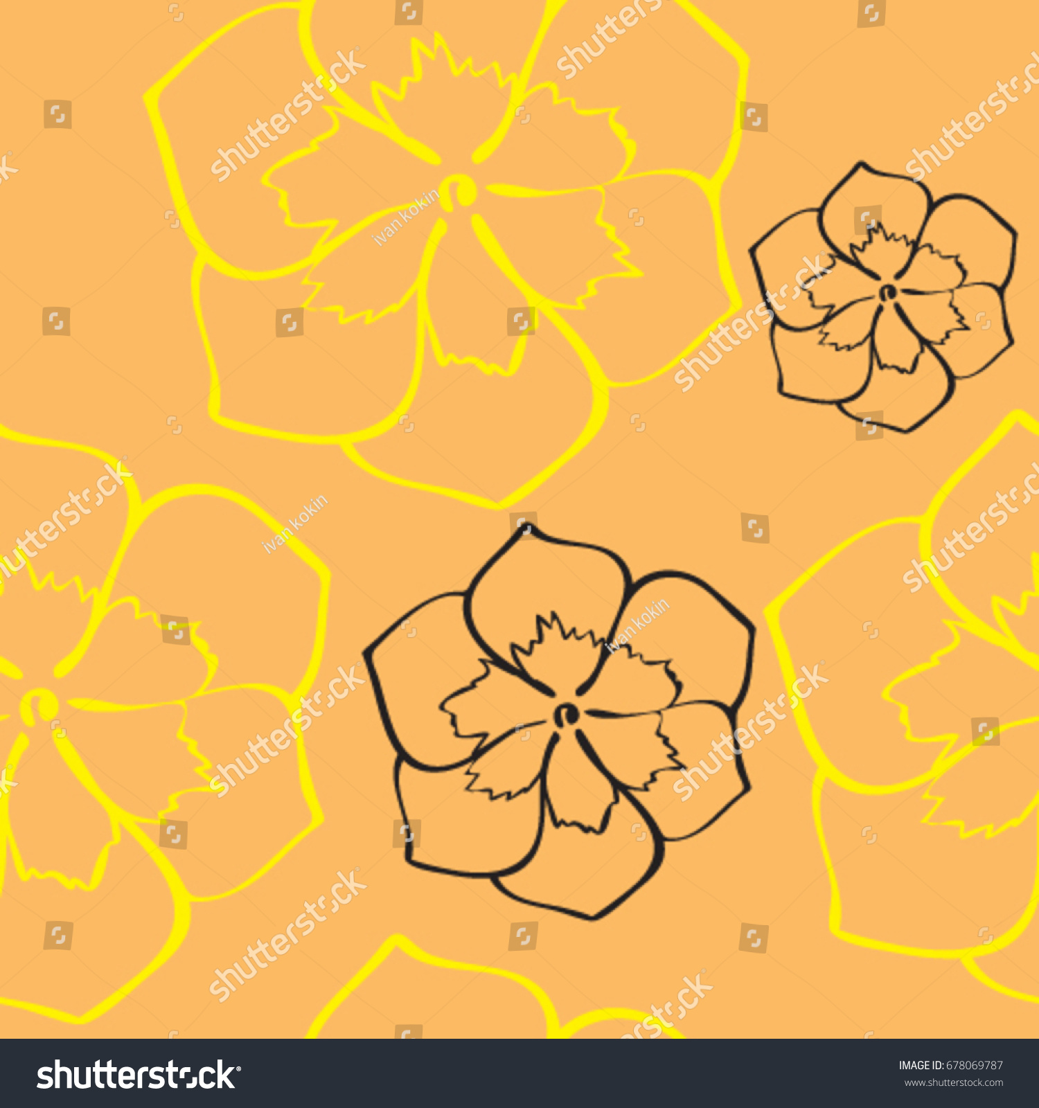 Seamless Sketch Drawing Yellow Black Flowers Stock Vector Royalty