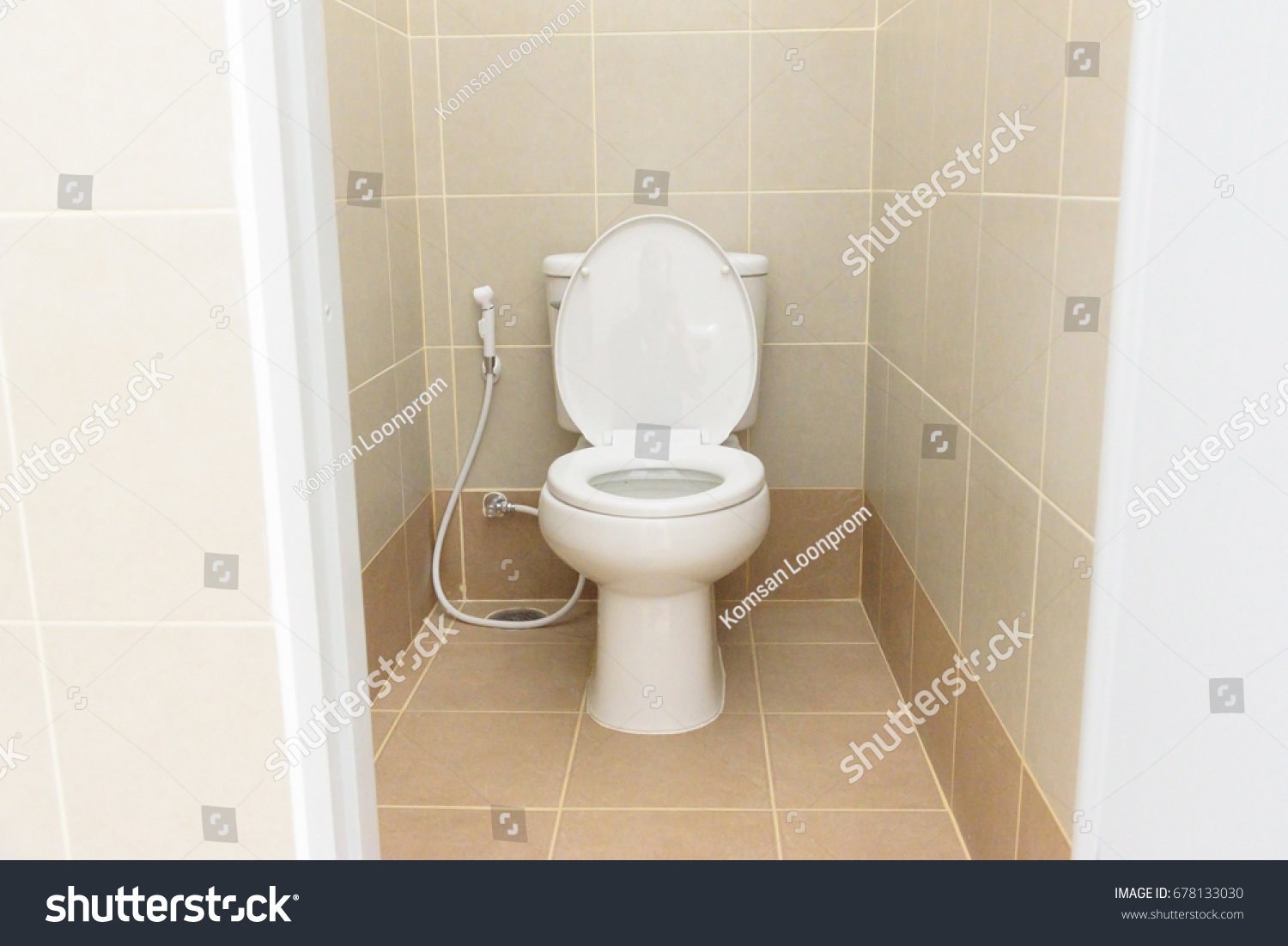 White Toilet Bowl Brown Tiles Bathroom Stock Photo (Royalty Free ...