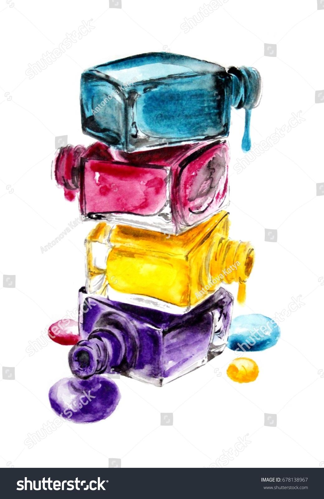 Nail Polish Bottle Stack Spilled Laquer Stock Illustration 678138967 ...
