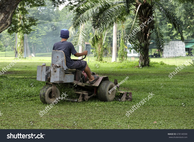 Lawn Mower Cutting Green Grass Golf Stock Photo (Edit Now