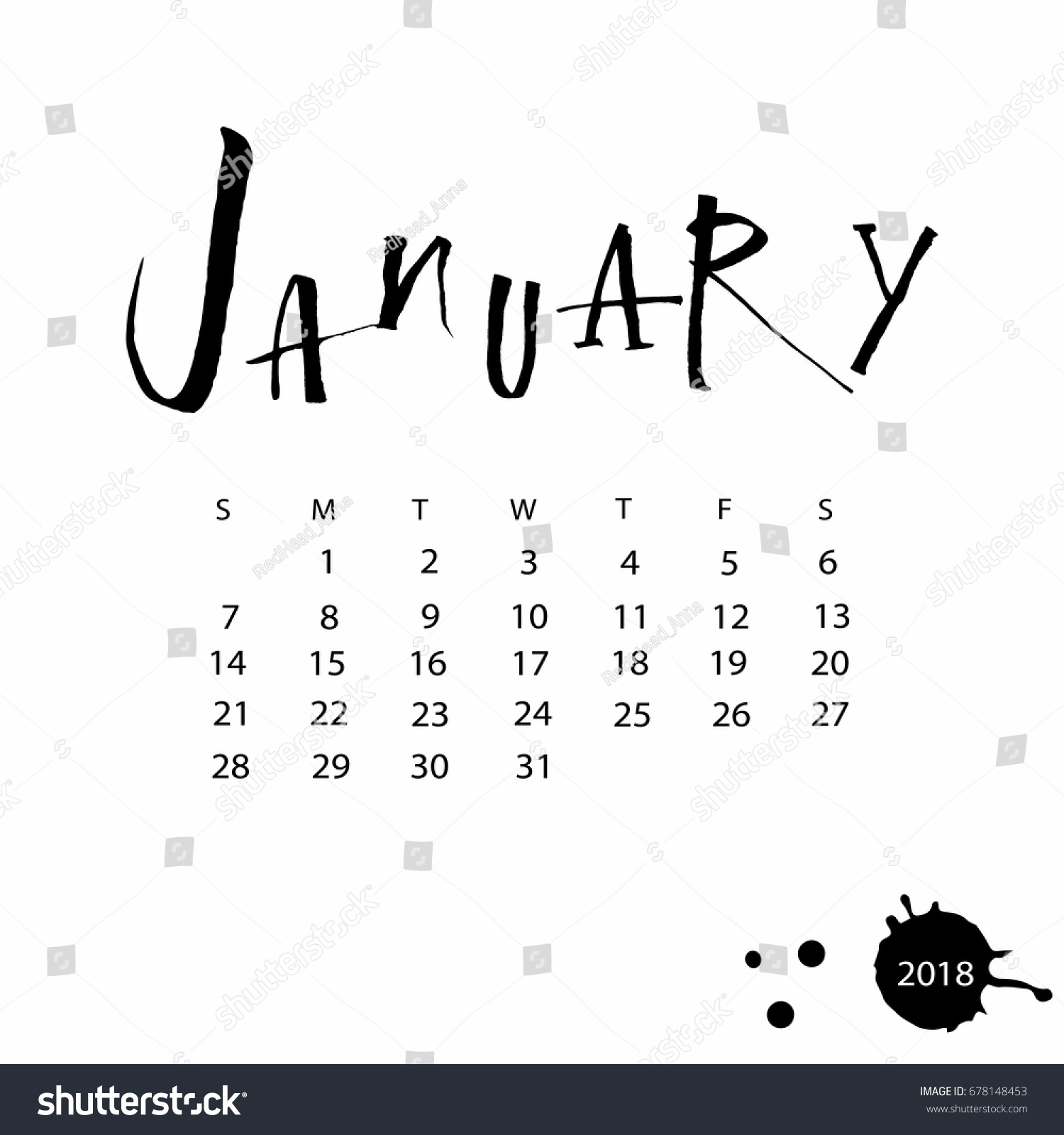 Vector Calendar January 2018 Hand Drawn Stock Vector 678148453 ...