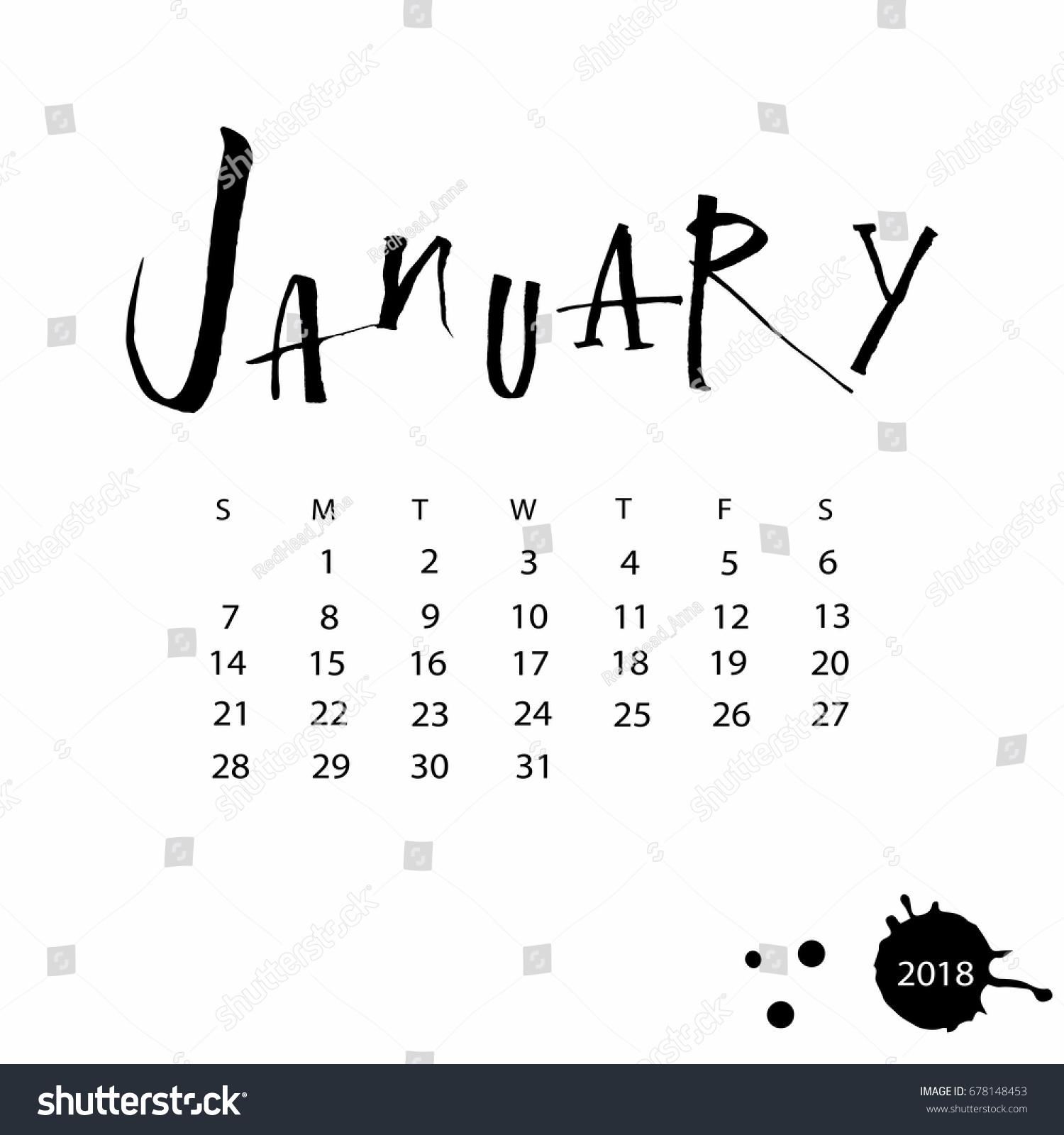 Calendar Design Letters : Vector calendar january hand drawn stock
