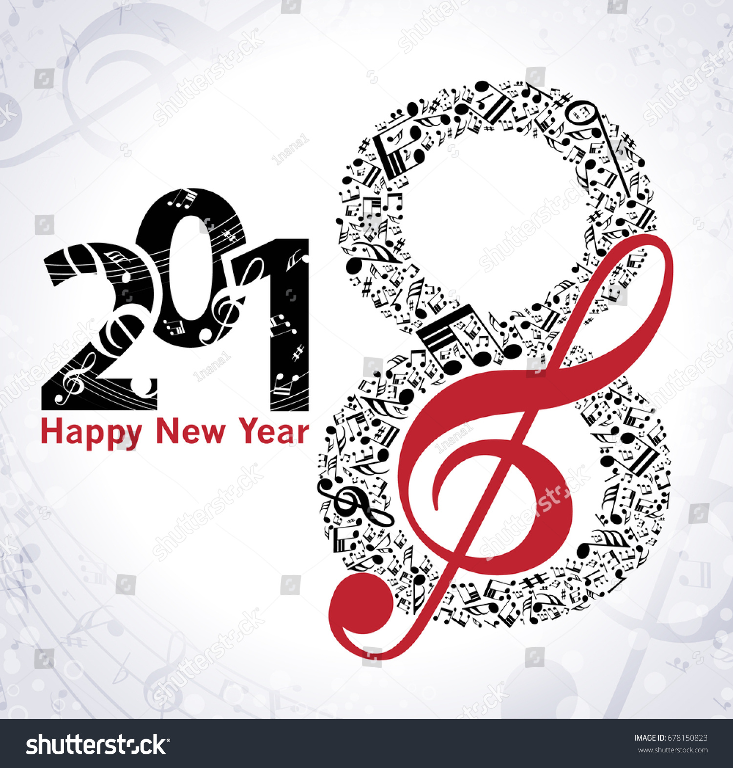 Musical Happy New Year Background Notes Stock Vector (Royalty Free ...