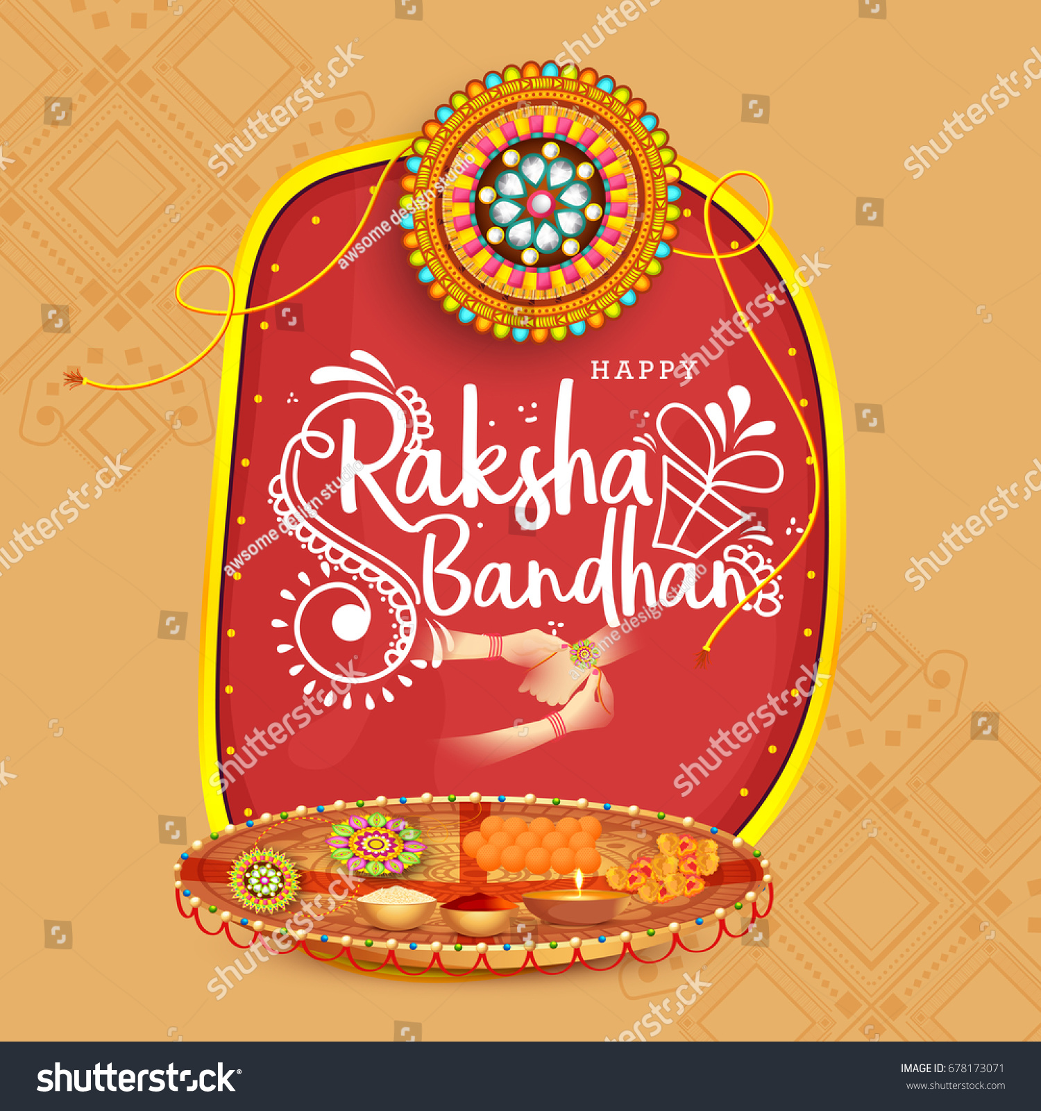 Illustrationgreeting Card Decorative Rakhi Raksha Bandhan Stock