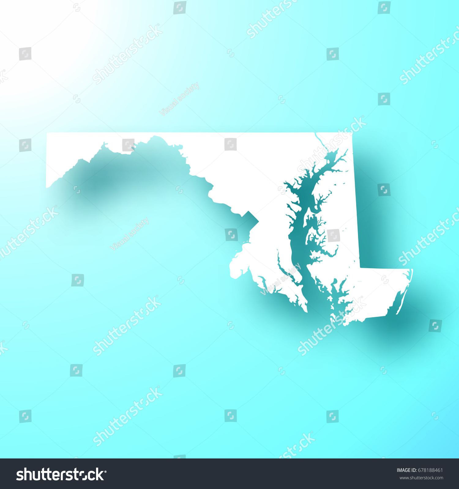 Maryland Map Isolated On Bright Blue Stock Vector 678188461