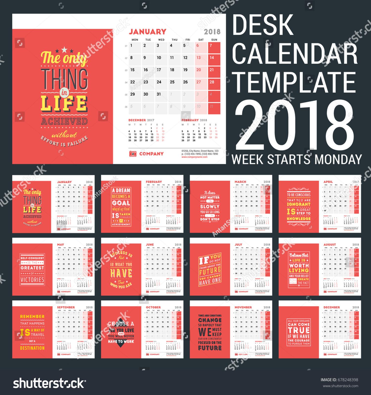 Calendar Template 2018 Year Design Template Stock Vector Royalty