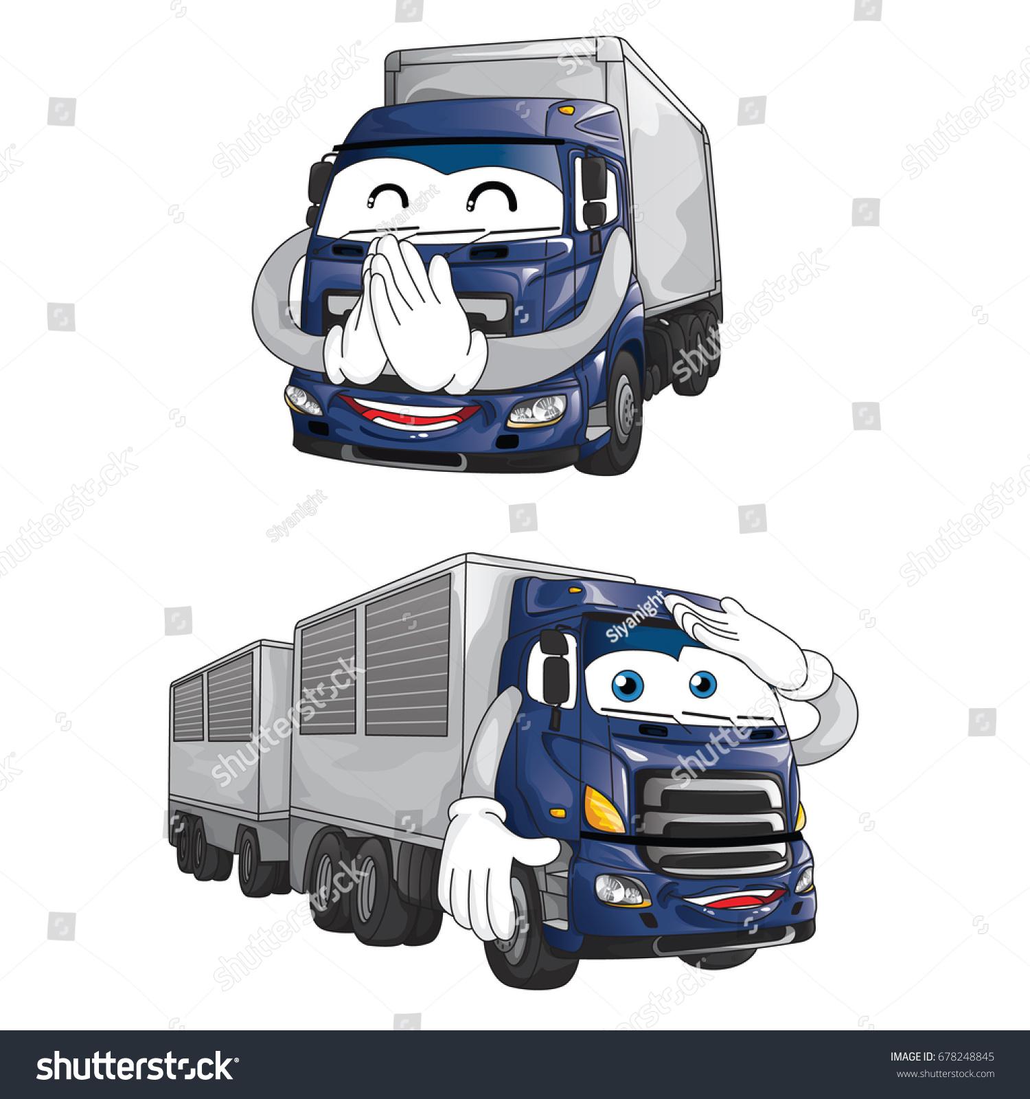 Trailer Truck Mascot Character Design Vehicle Stock Vector