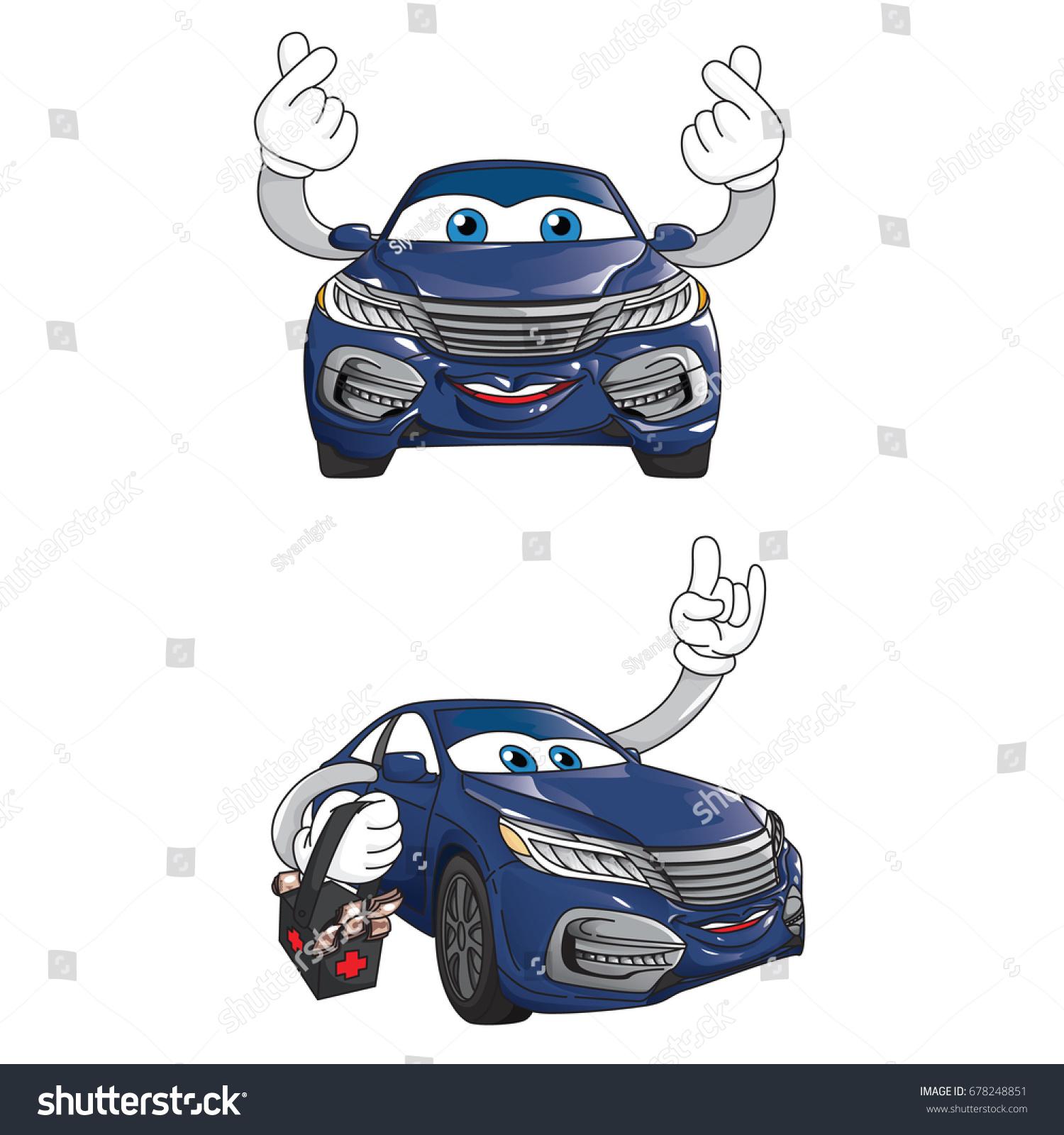 Car Mascot Character Design Vehicle Cartoon Stock Vector 678248851