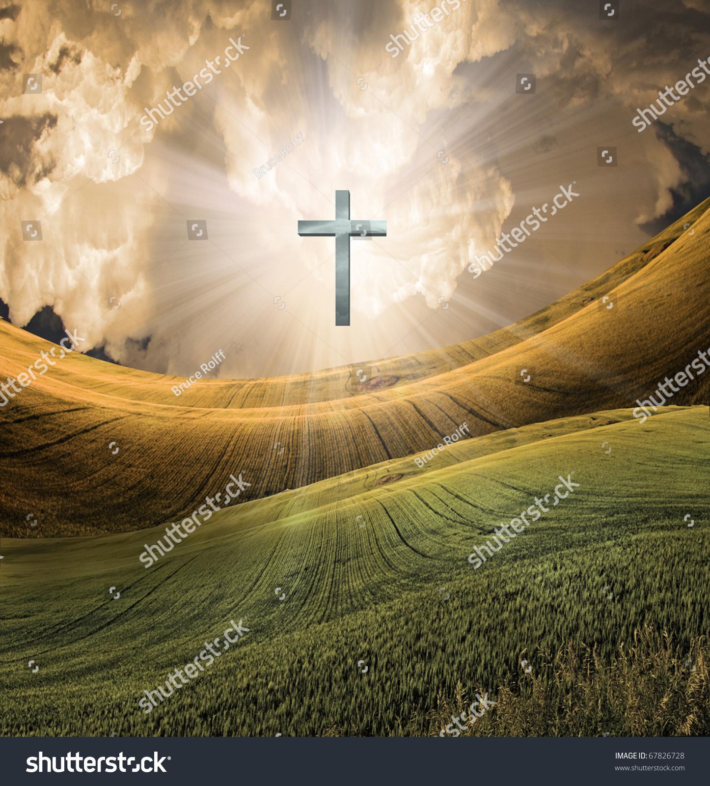 cross radiates high resolution light sky stock illustration 67826728