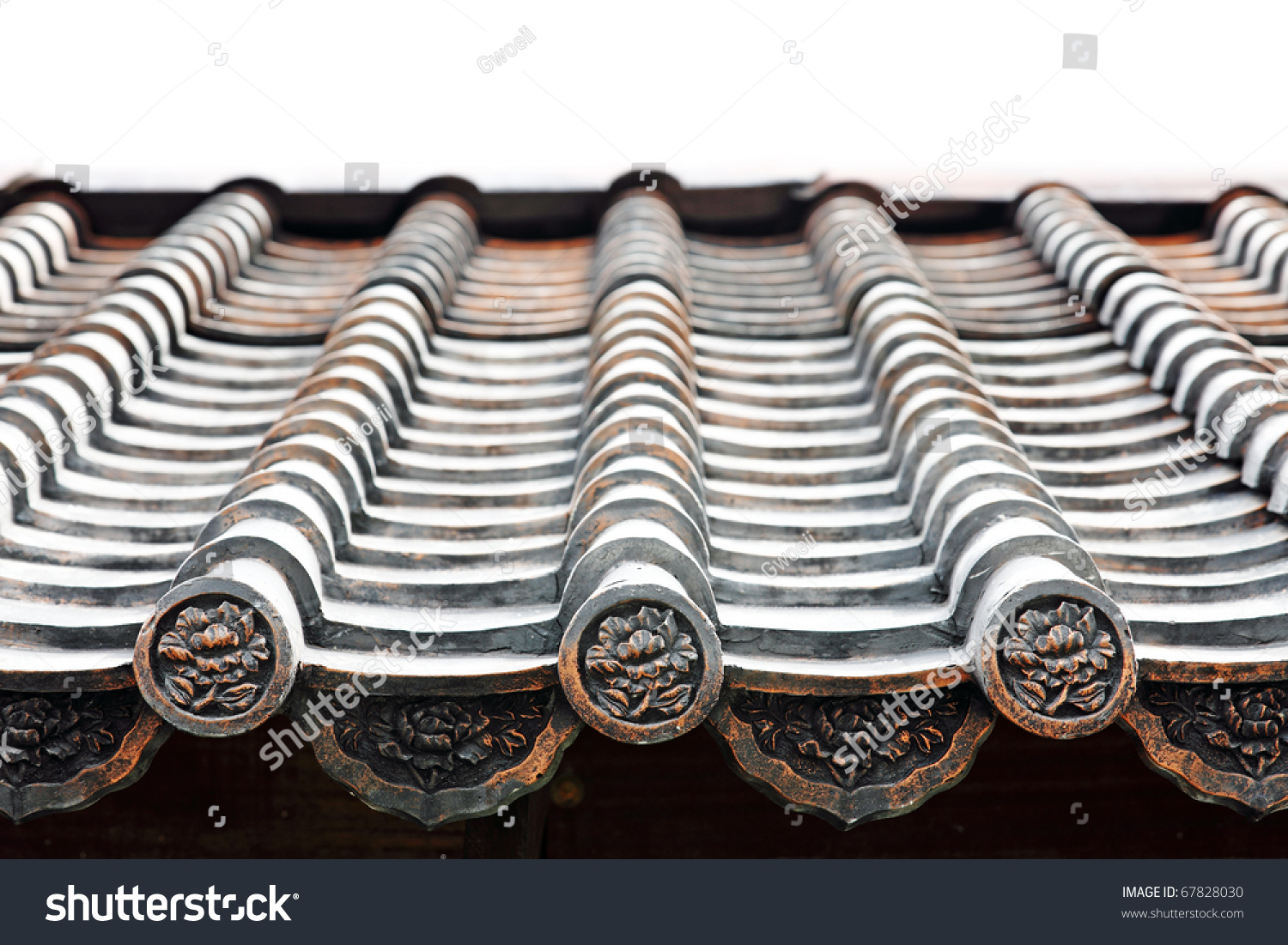 Close Image Ancient Medieval Roof Oriental Stock Photo 67828030 ...