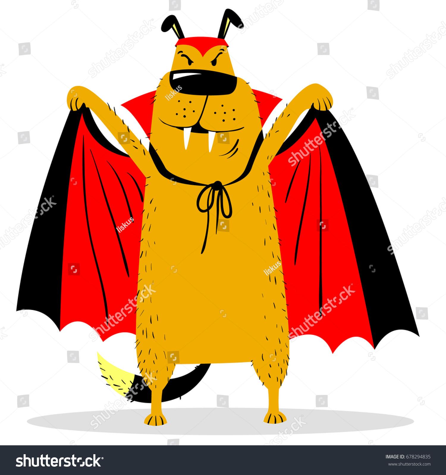 Halloween Dog Character Costume Vampire Horror Stock Vector