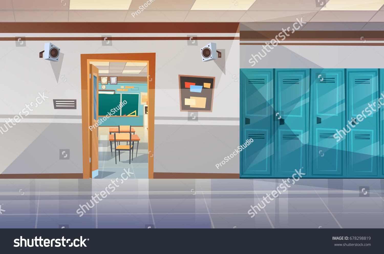 Empty School Corridor Lockers Hall Open Stock Vector