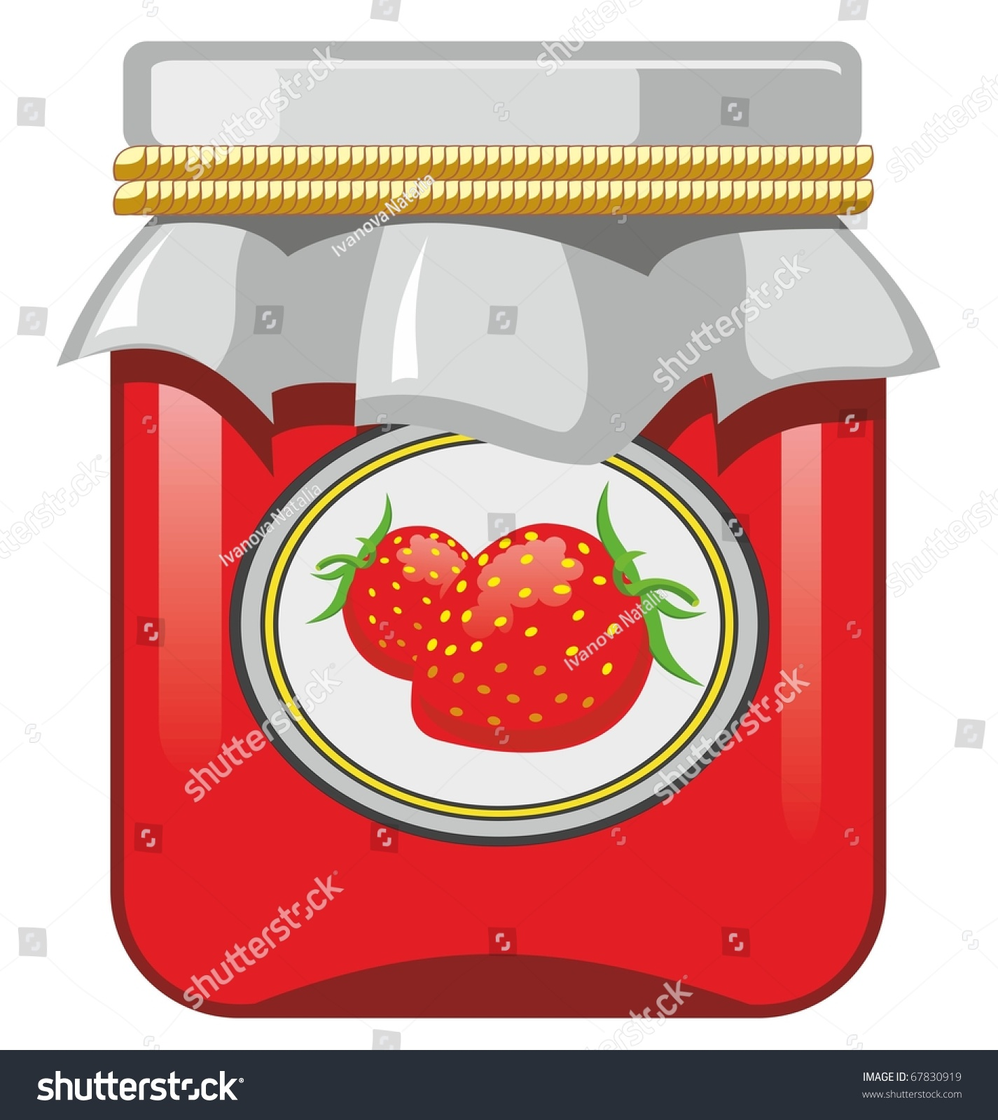 jar strawberry jam strawberry stock vector 67830919