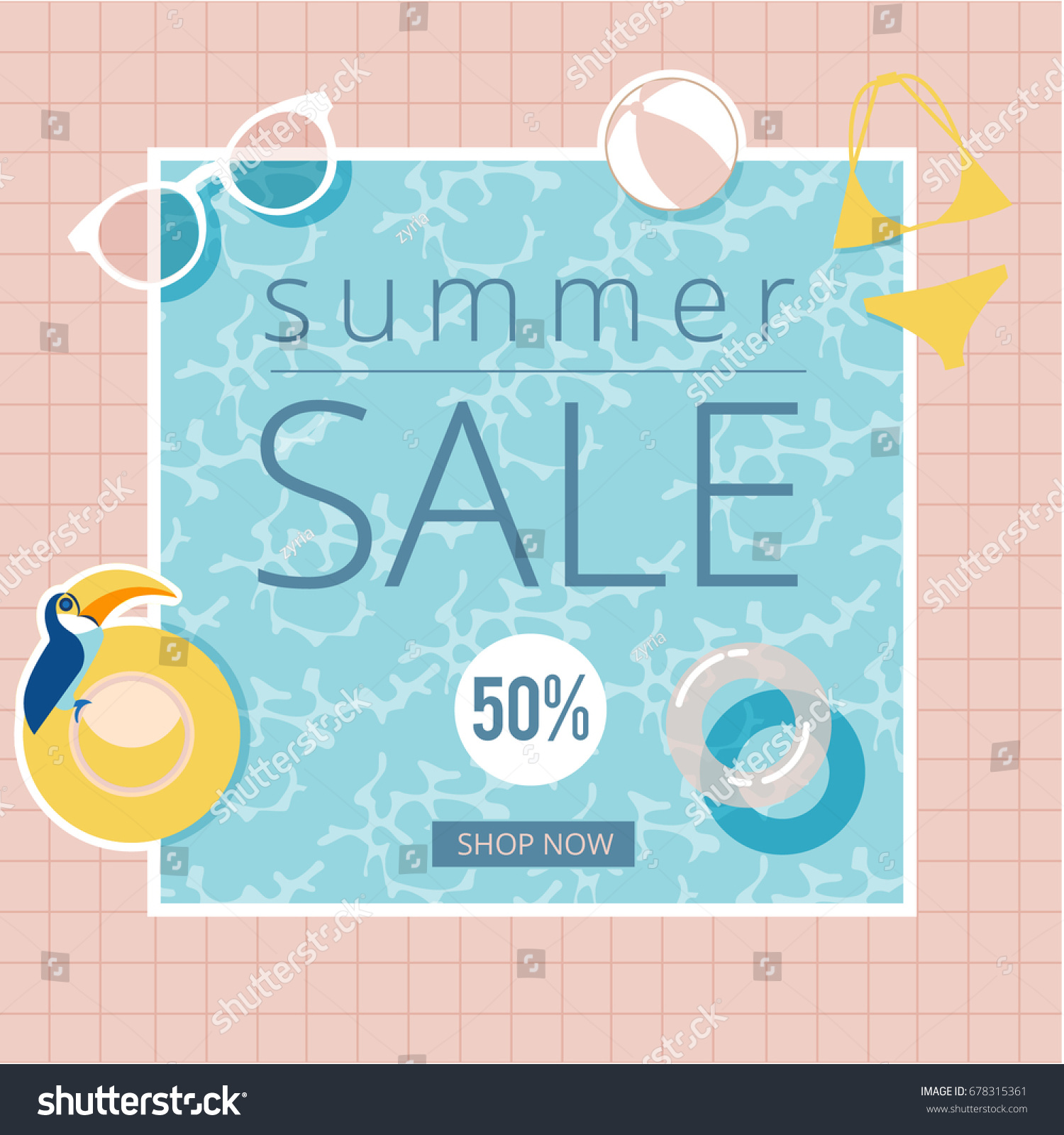 f4a291d769 Vector Summer Sale Background Swimming Pool Stock Vector (Royalty ...