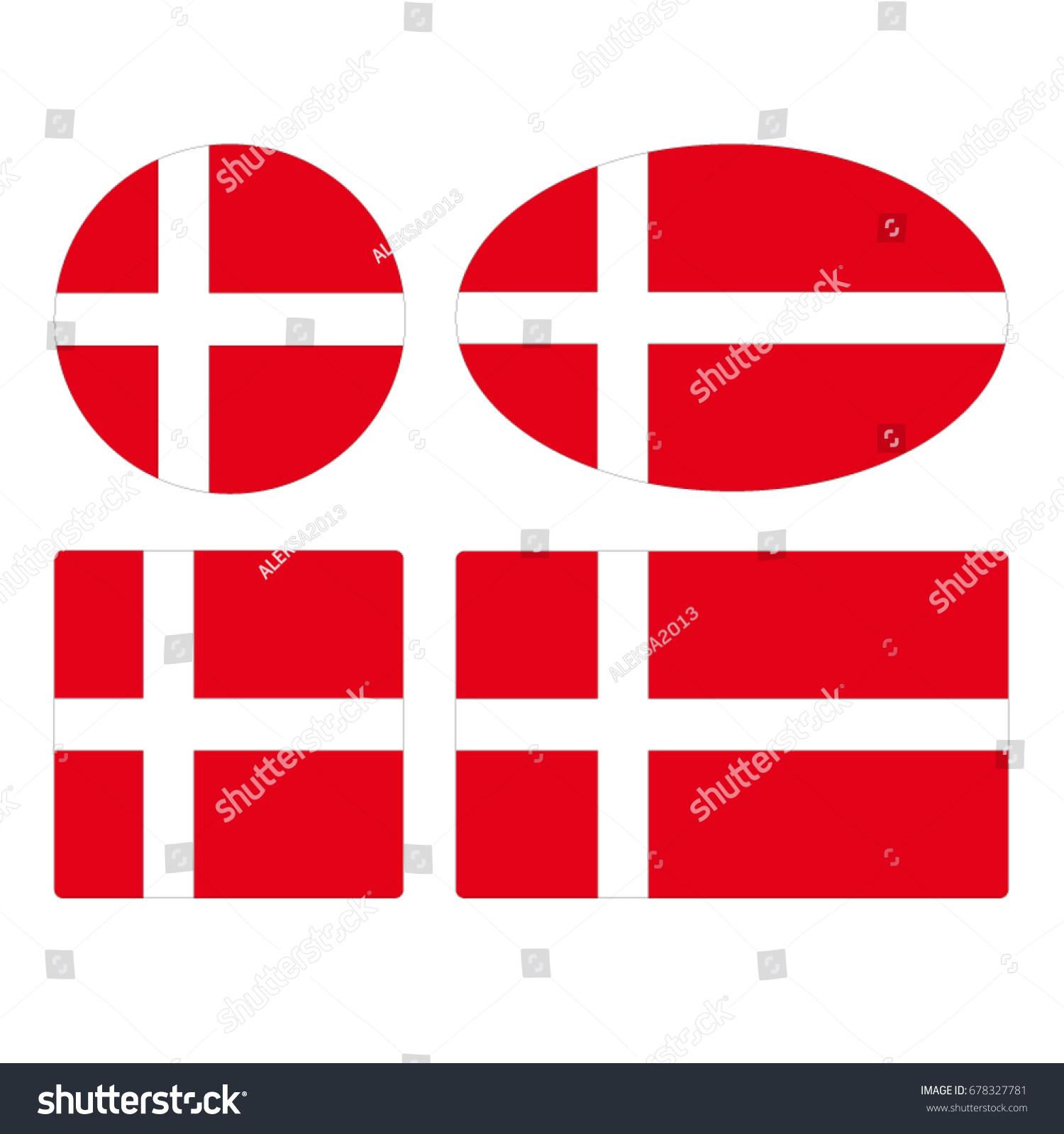 Vector Illustration Denmark Flags Stock Vector - Denmark flags