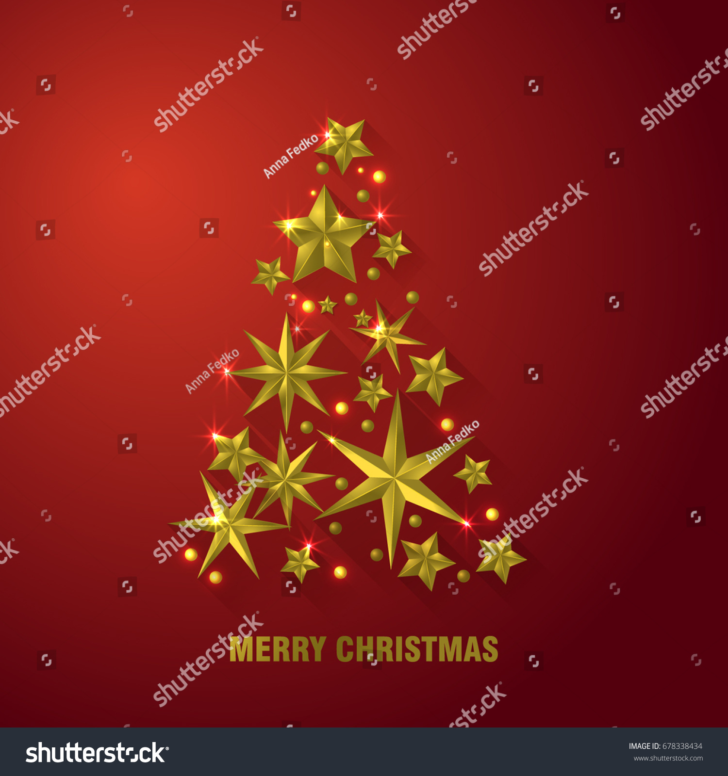 christmas tree made cutout gold foil stock vector 678338434