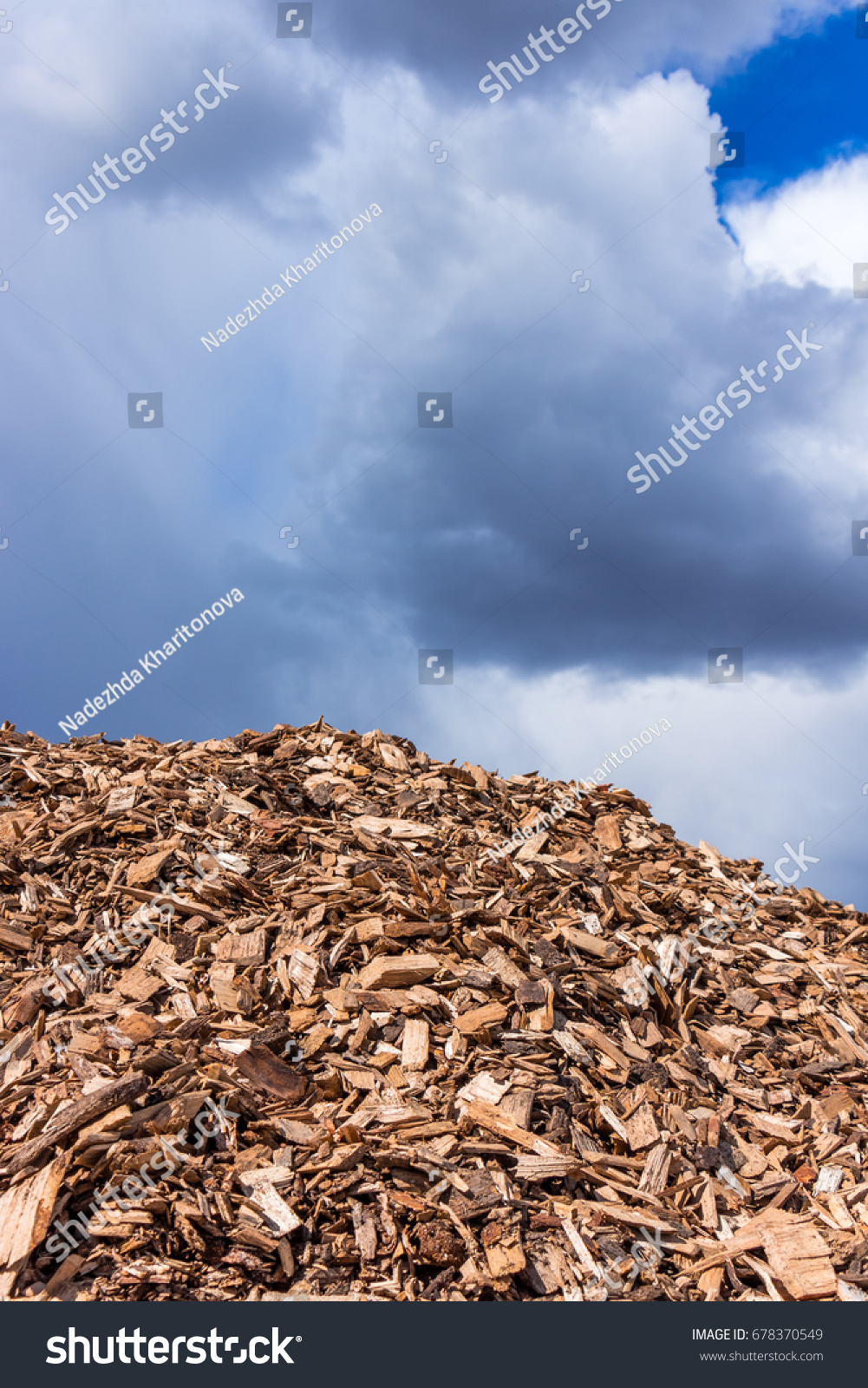 View on a large big pile of wooden splinters with blue sky on the  background.